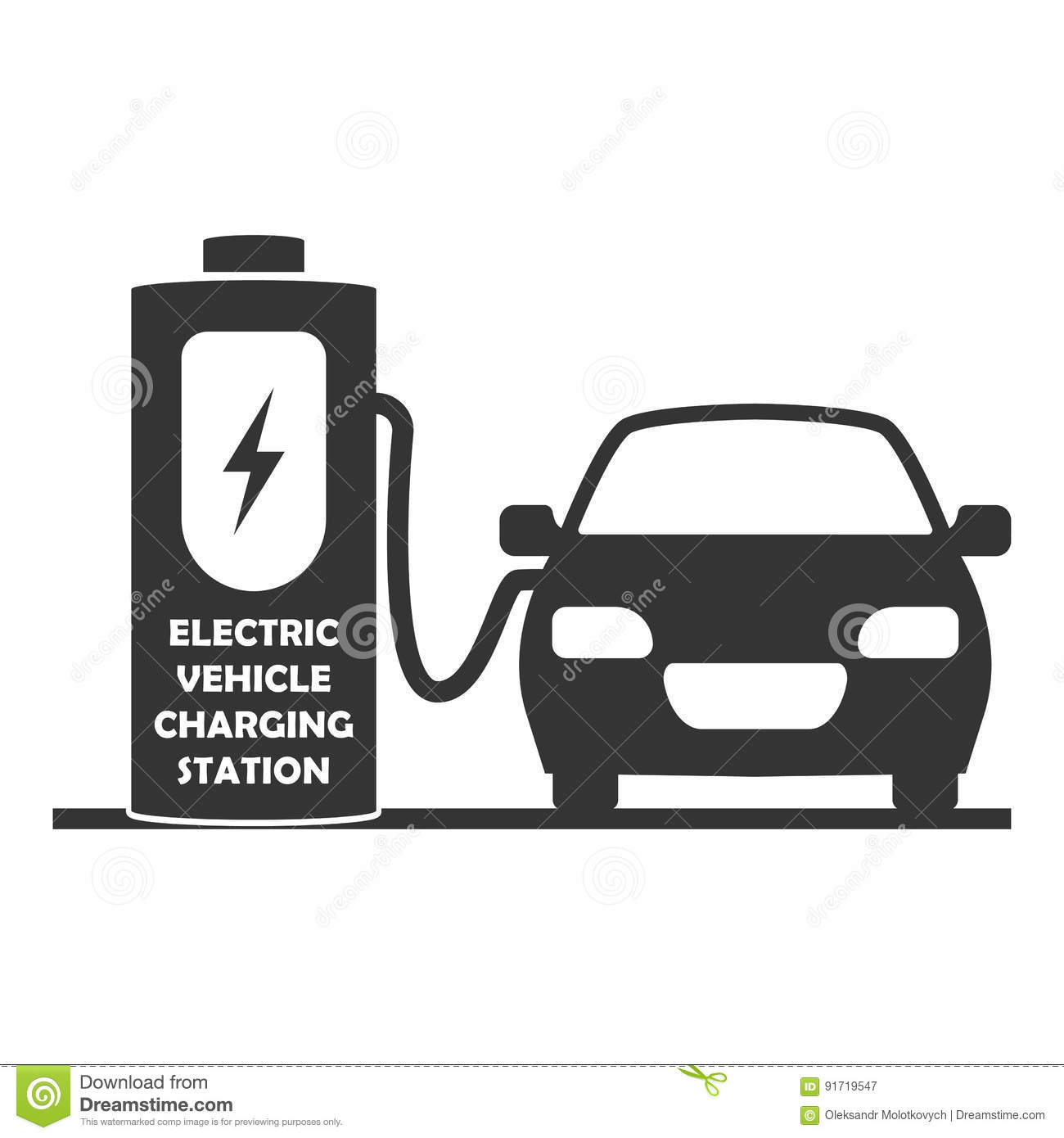 Vector Charging Station For Electric Cars Icon Electric Vehicle On