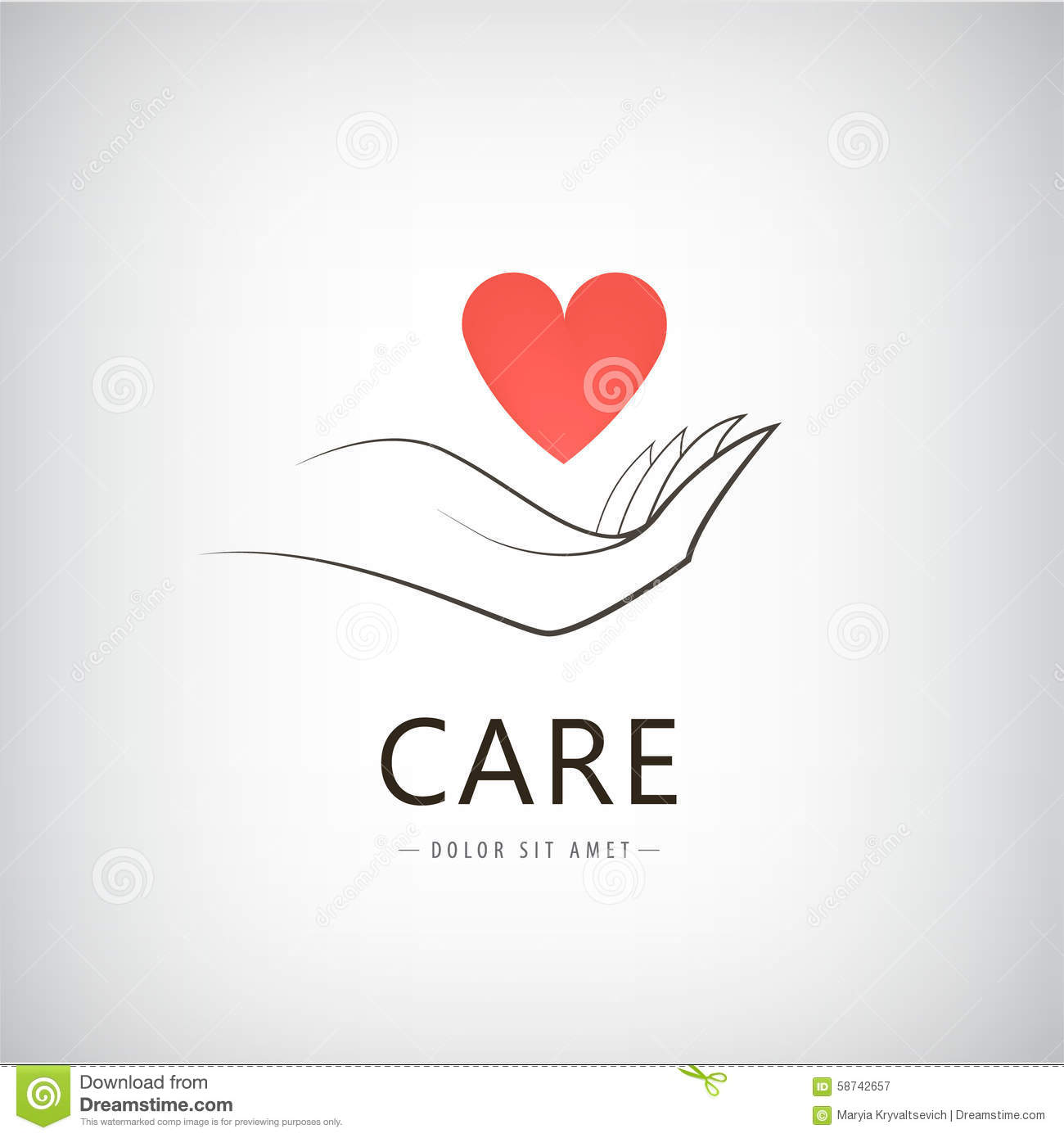 Vector charity, medical, care, help logo, icon with line hand holding red  heart. Isolated 42619ece3180