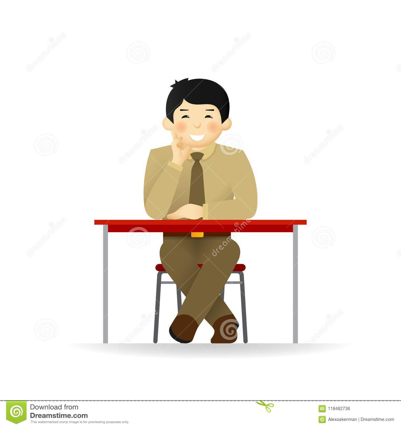Vector cheeky asian man in sweater and shirt posing. Sitting at table.