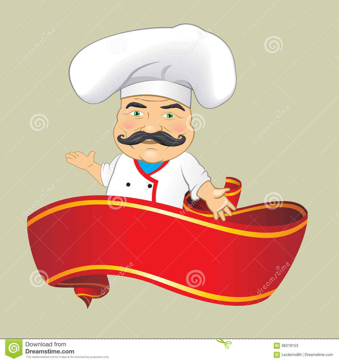 Cartoonsmart Character Design Illustrator : Vector chef cook serving food realistic cartoon character