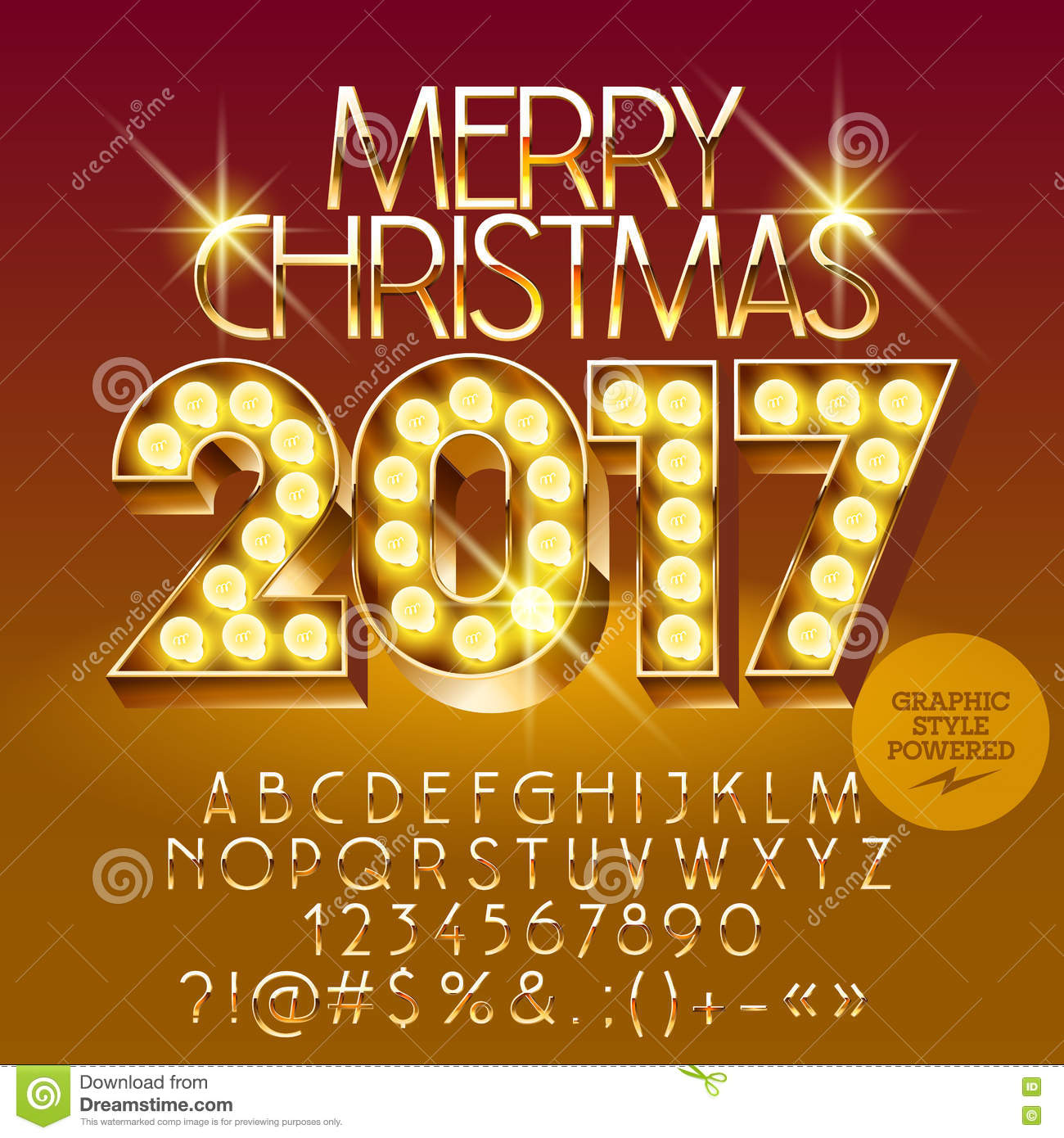 Vector Chic Light Up Merry Christmas 2017 Greeting Car Stock Vector