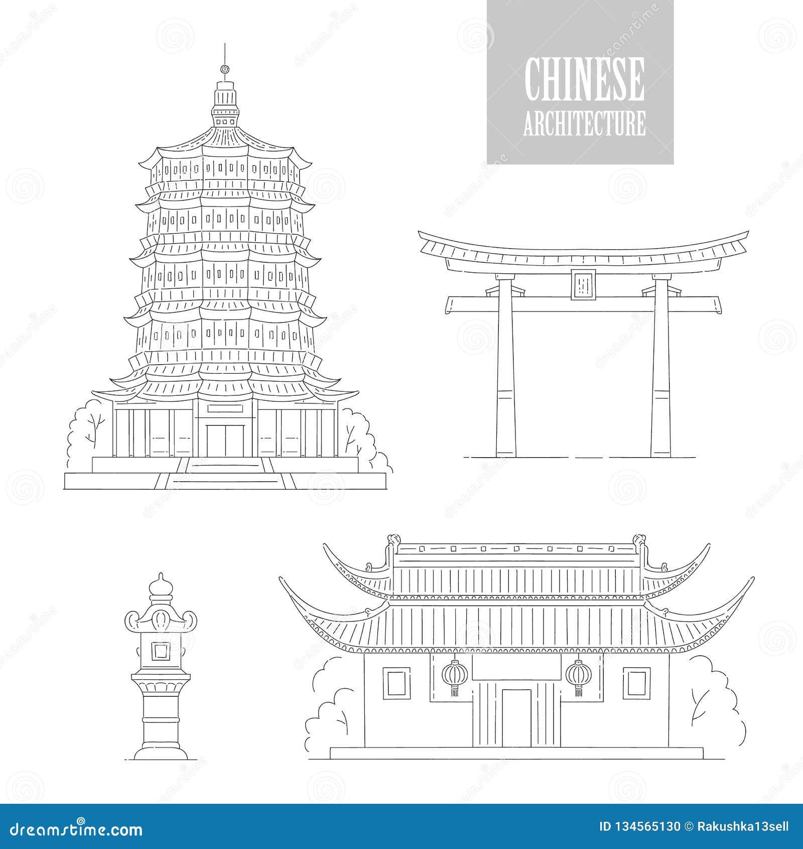 Vector Chinese architectuuroriëntatiepunten De oosterse van de de kunstpoort van de gebouwen zwarte witte lijn pagode en gazebo V