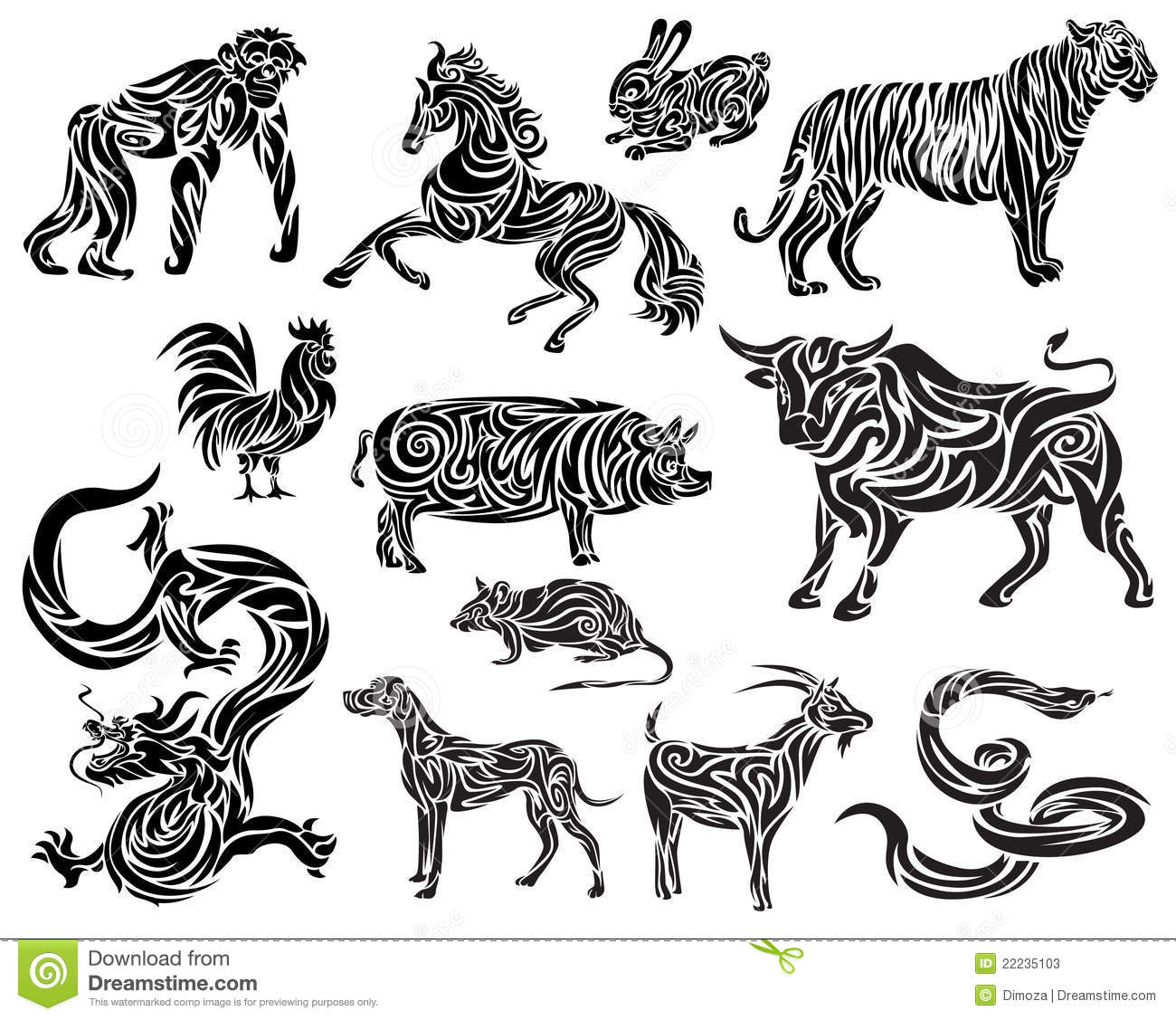 Vector of chinese zodiac stock vector image of future for Chinese vector