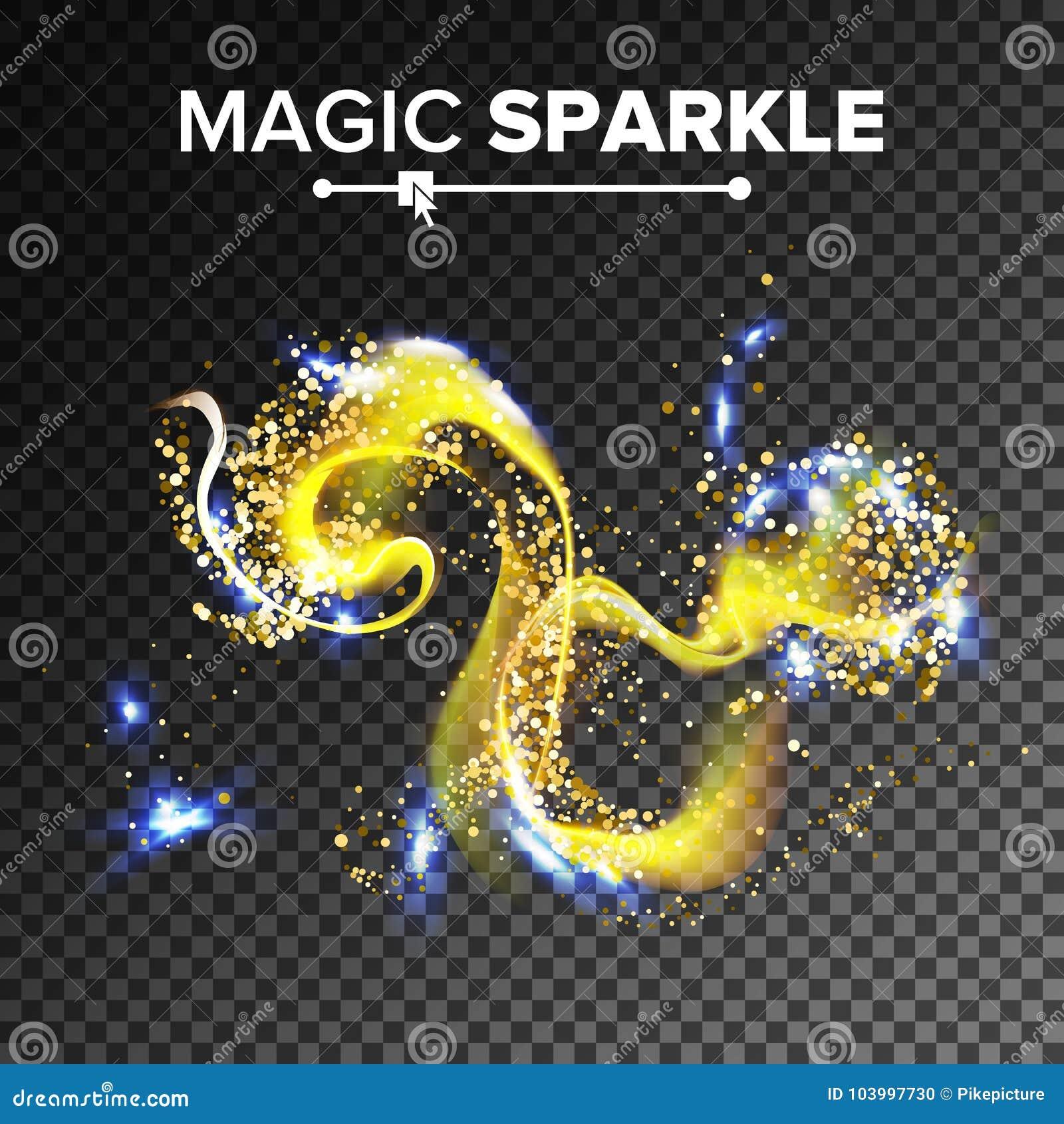 Vector chispeante magnífico del efecto Polvo que brilla que vuela en el aire Rastro de las partículas del oro Aislado en transpar