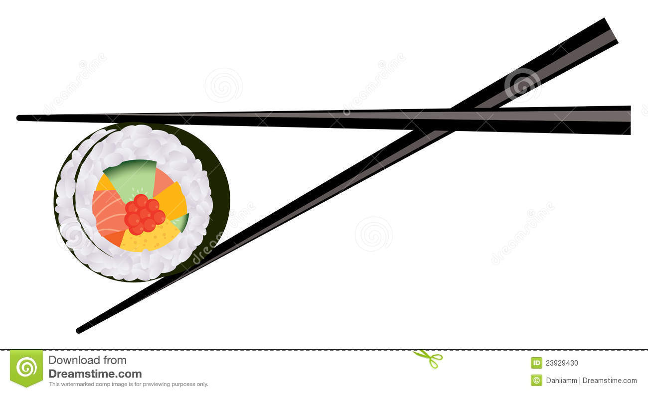 Vector Chopsticks Holding Sushi Stock Photo - Image: 23929430