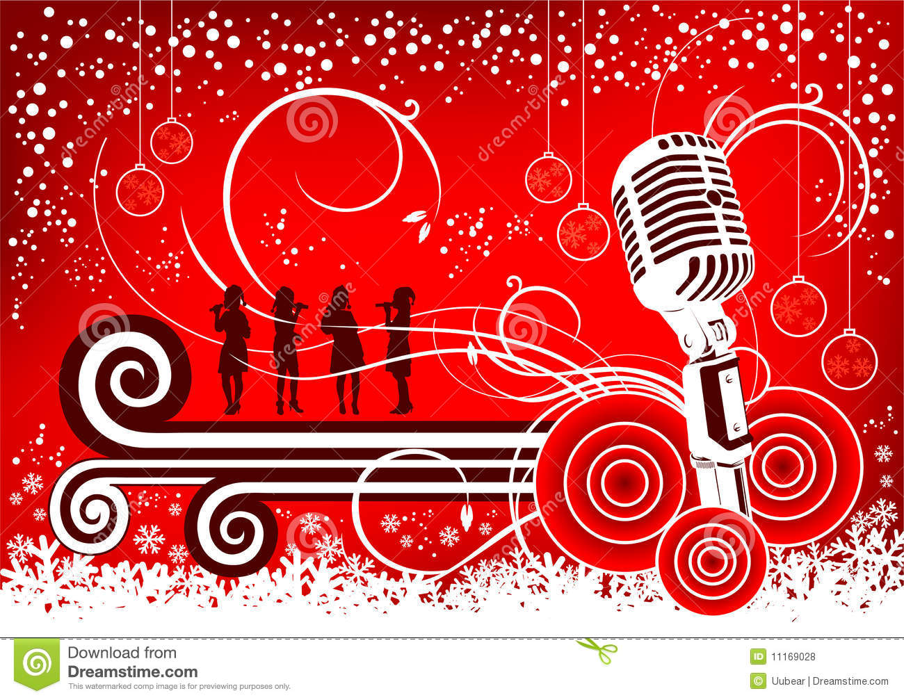 Illustration music background in christmas season with snow falling ...