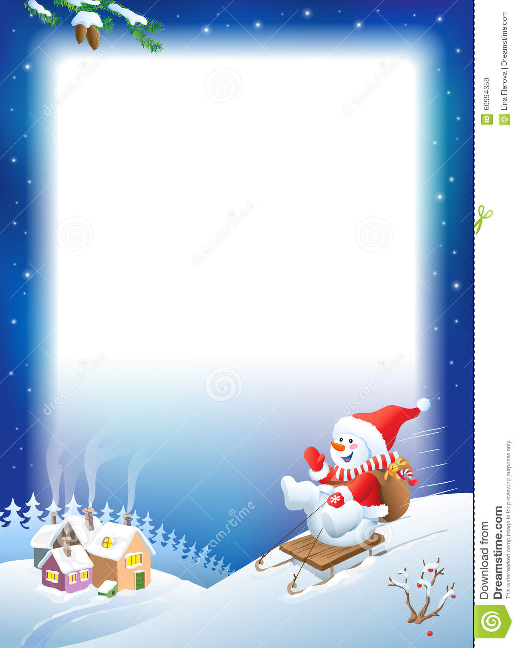 Vector Christmas Background Snowman On Sled With Gifts