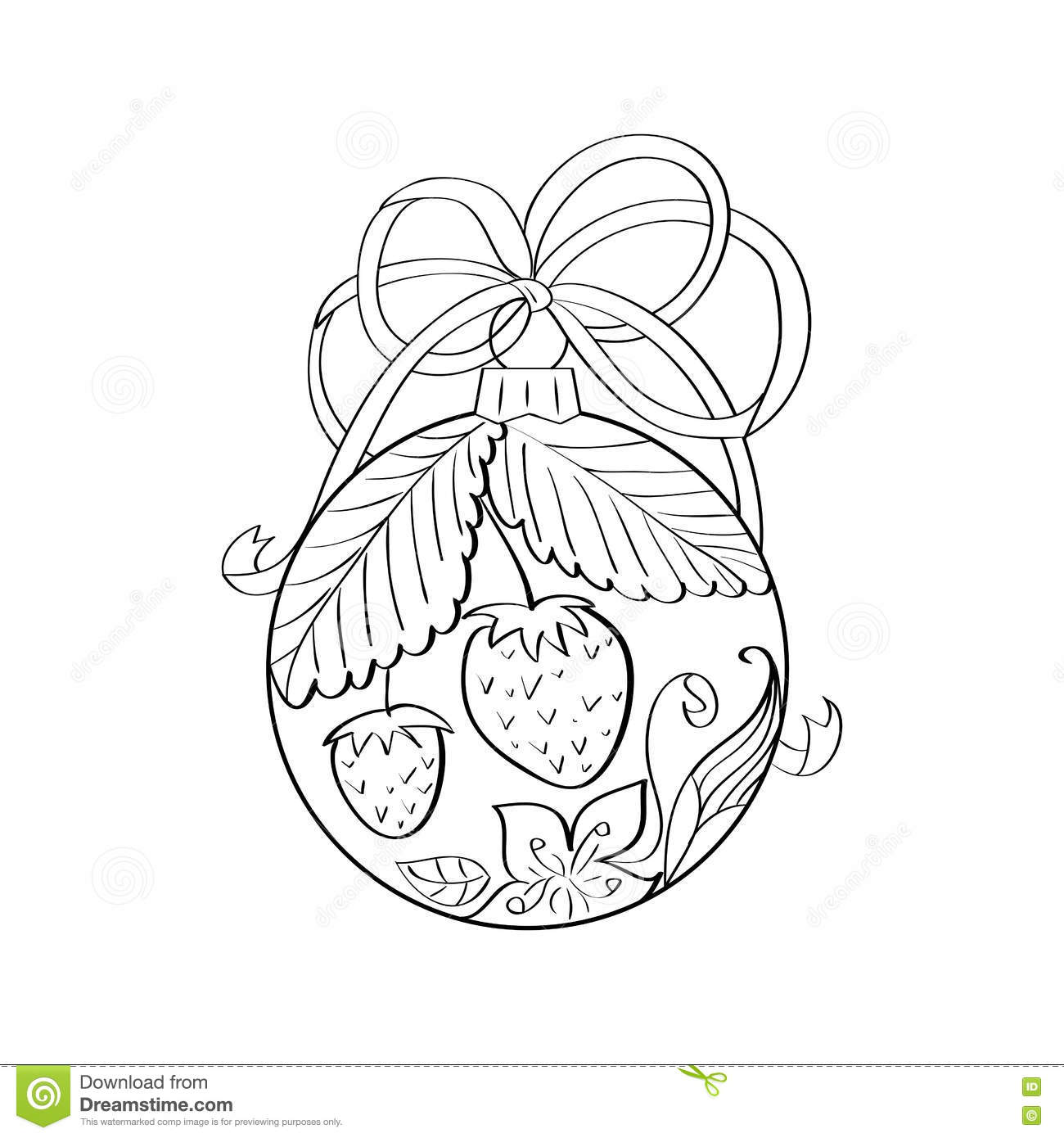 Vector Christmas Ball With Summer Ornament Inside - Strawberry And ...