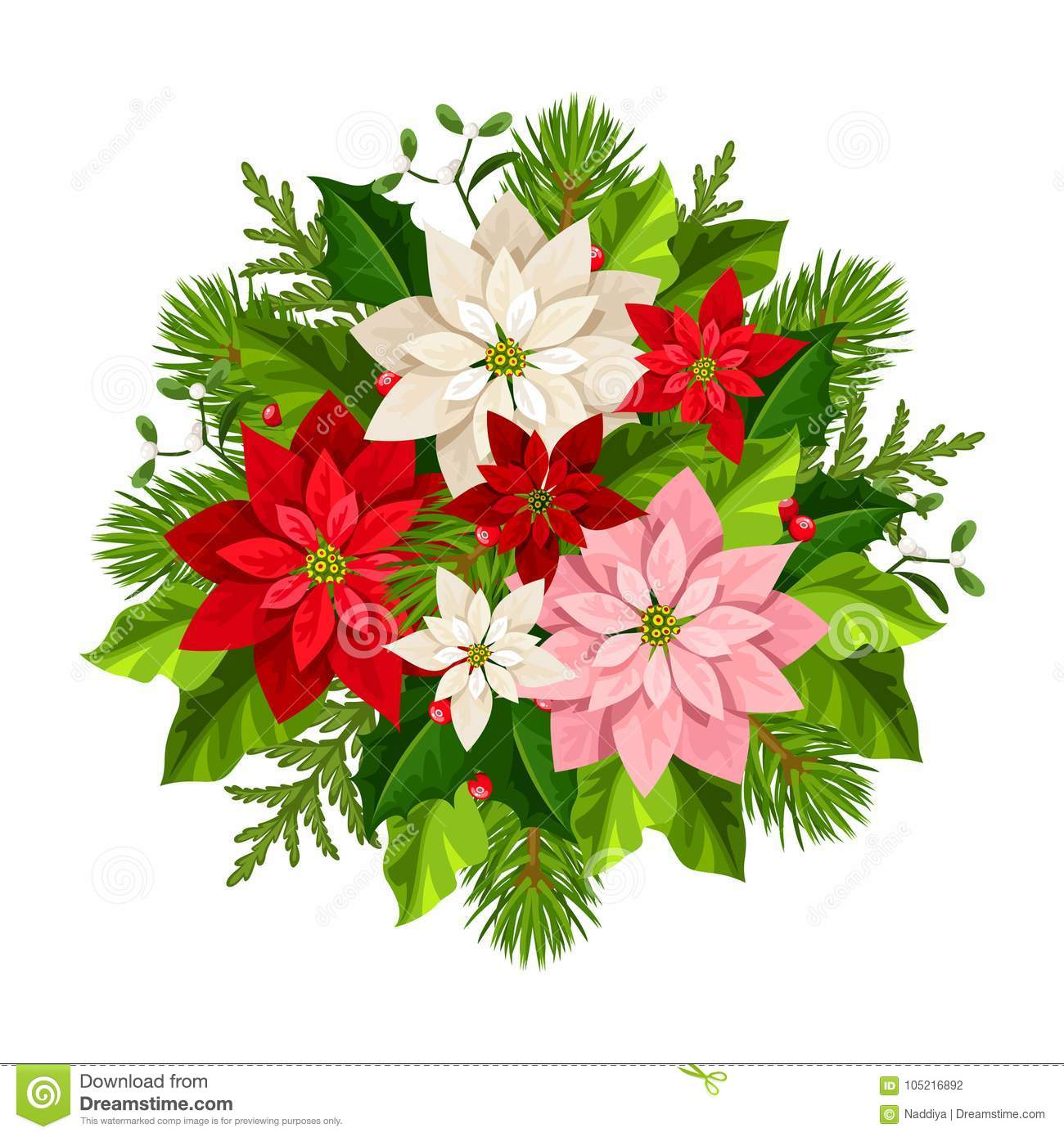 Christmas Bouquet With Poinsettia Flowers Fir Branches Holly And