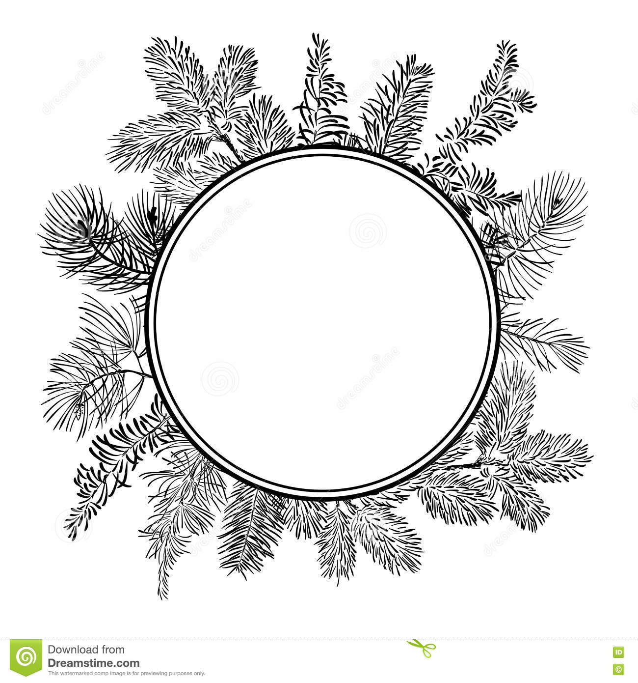 Christmas Branch Vector.Vector Christmas Branch In Circle On White Background Stock