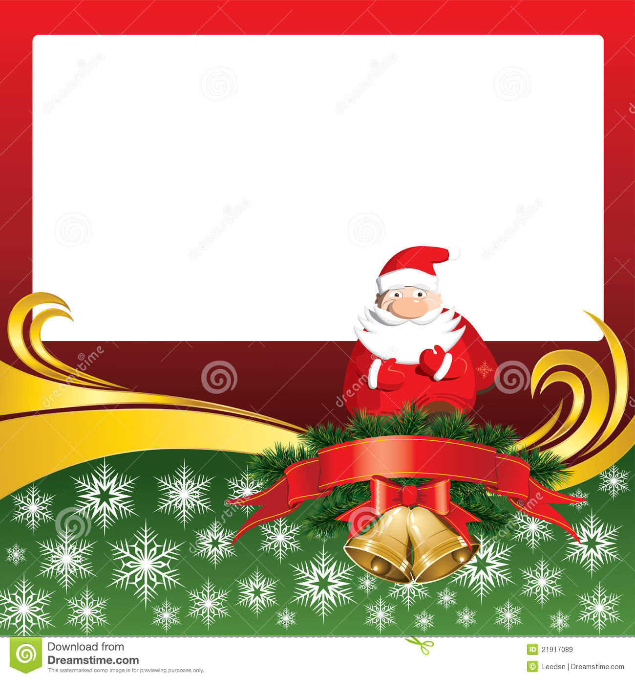 Vector Christmas Card With Bells And Santa Claus Stock Vector