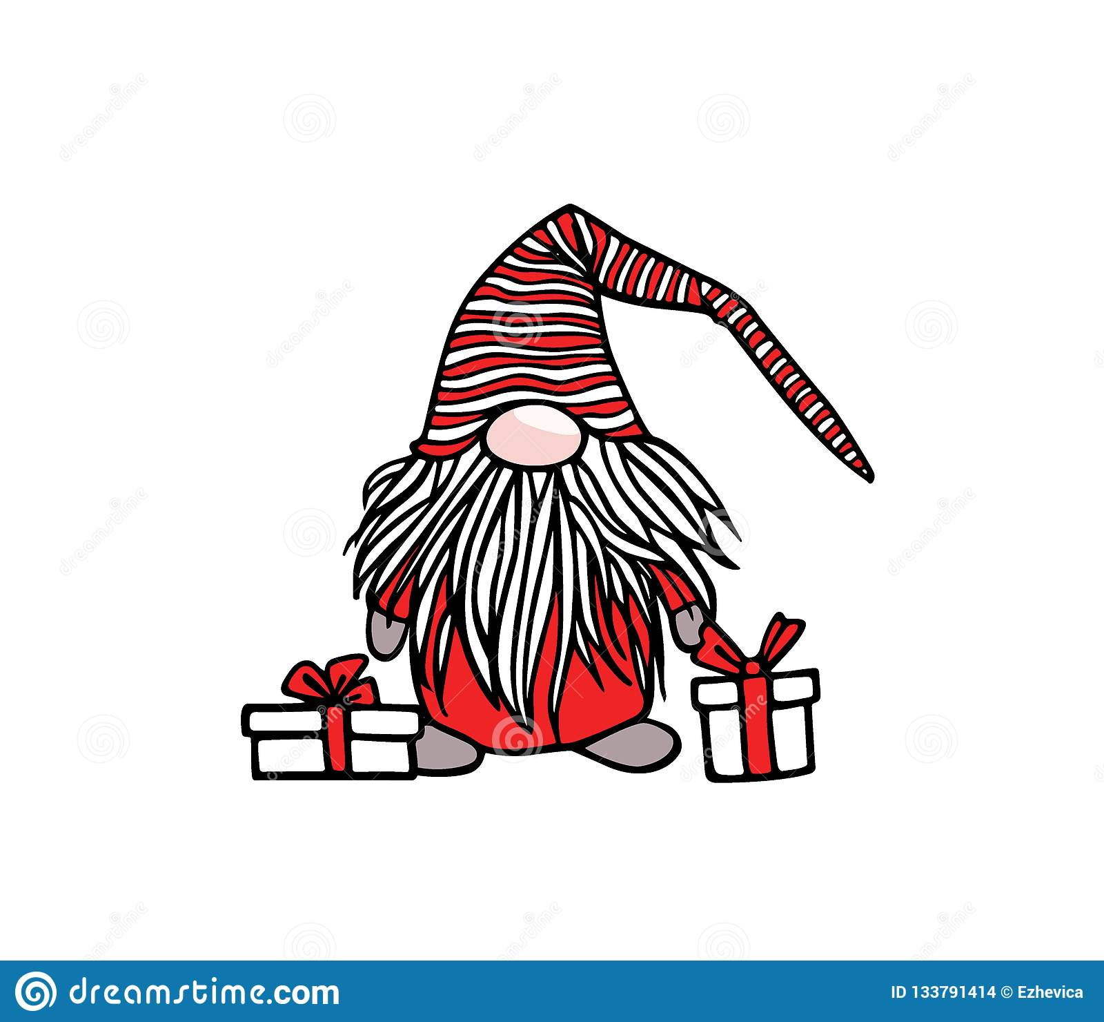 Christmas Gnome Drawing.Hand Drawn Christmas Gnome Stock Vector Illustration Of