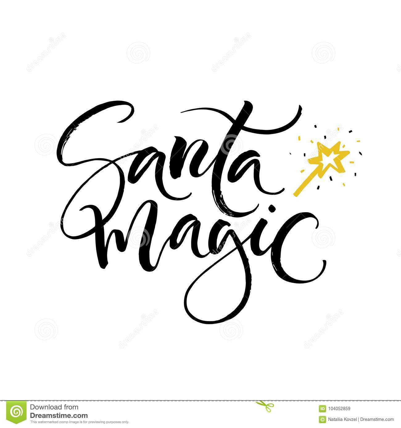 Hand drawn santa magic lettering perfect xmas design for greeting download comp m4hsunfo