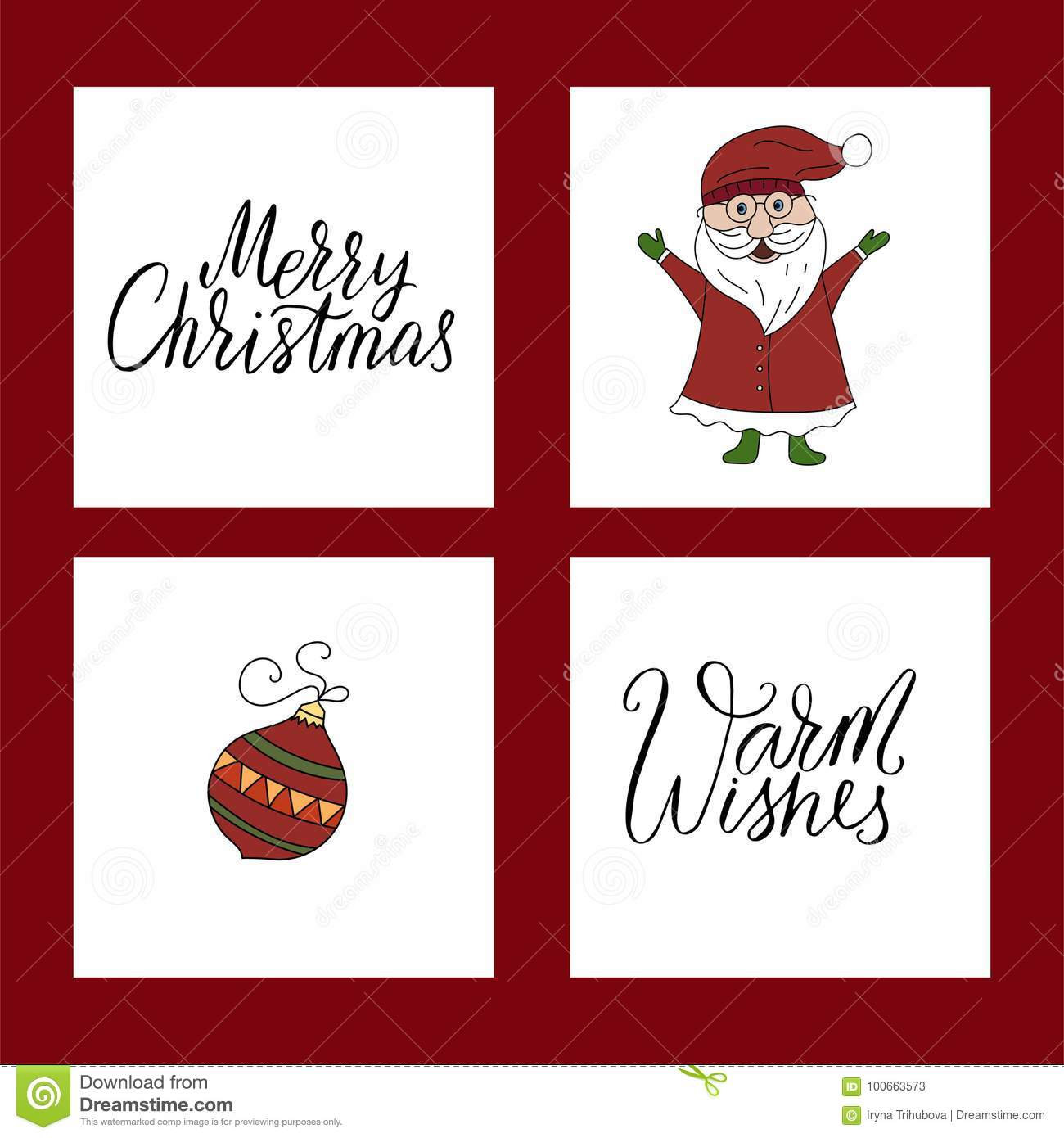 Vector Christmas Card Set With Illustrations And Hand Lettering ...