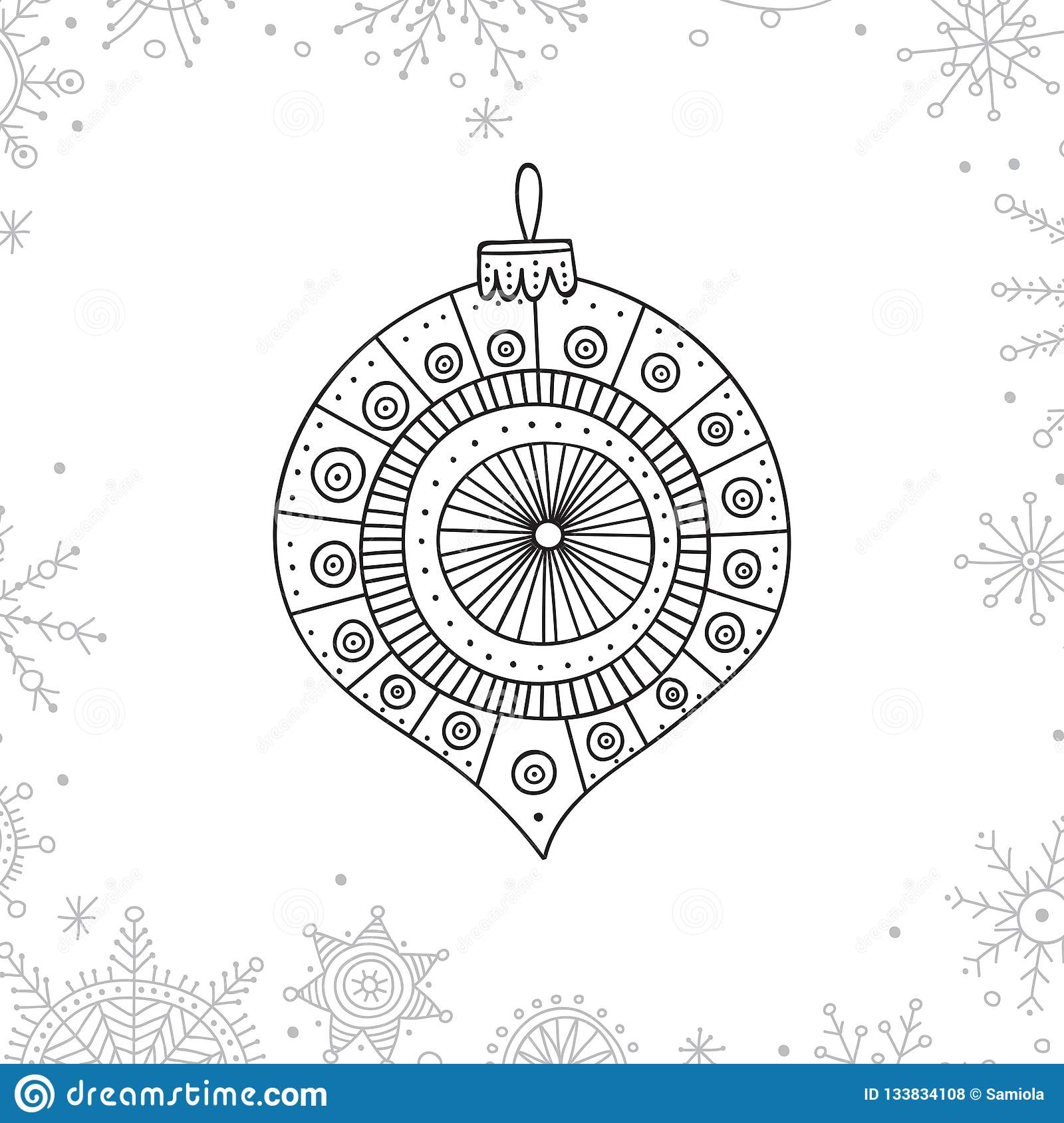 Vector Christmas Coloring Tree Decoration Bauble Stock ...