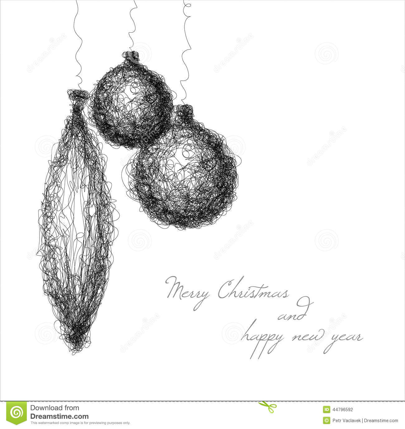 Christmas Decorations Drawings Easy.Vector Christmas Decoration Continuous Line Drawing Stock