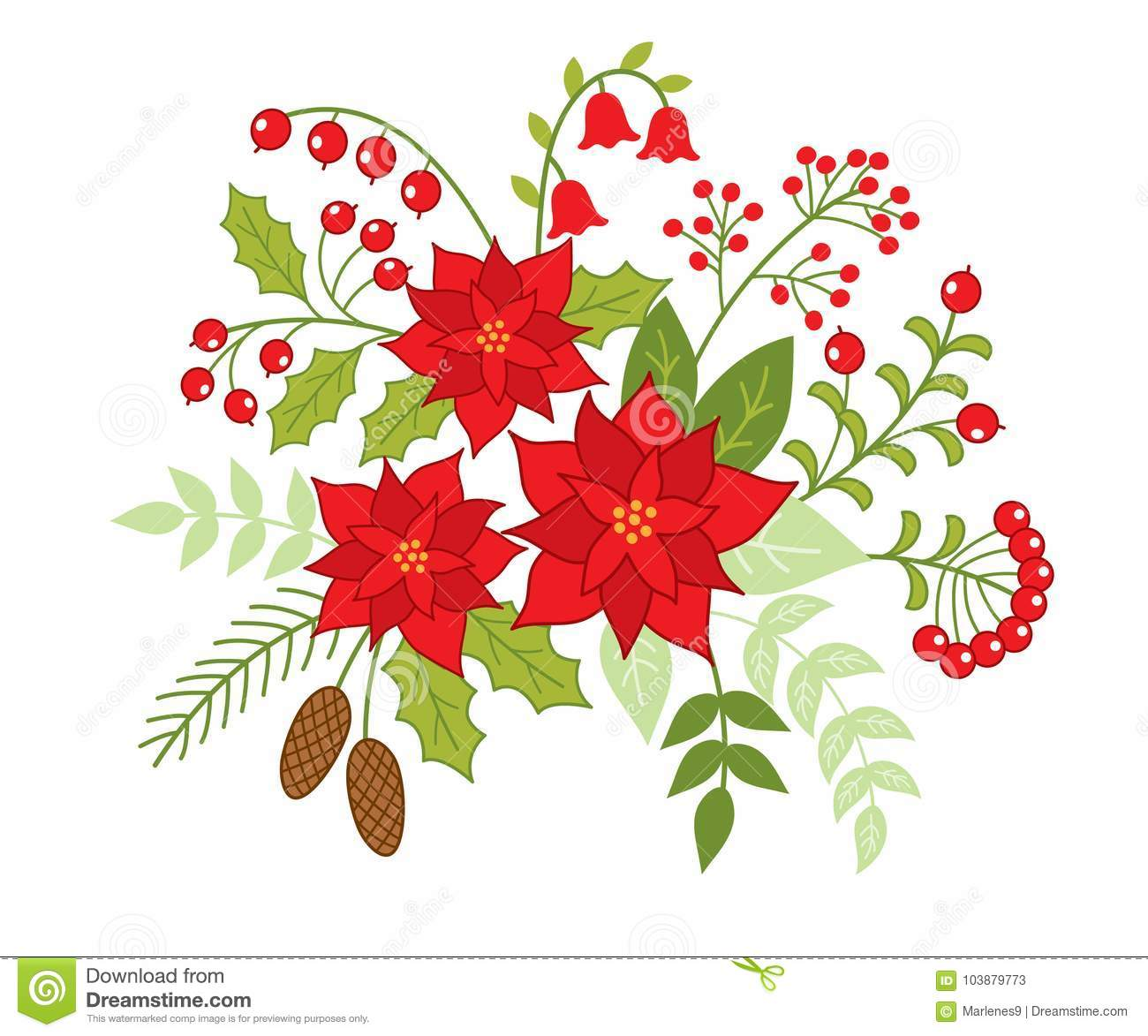 Vector Christmas Floral Bouquet with Poinsettia and Red Berries