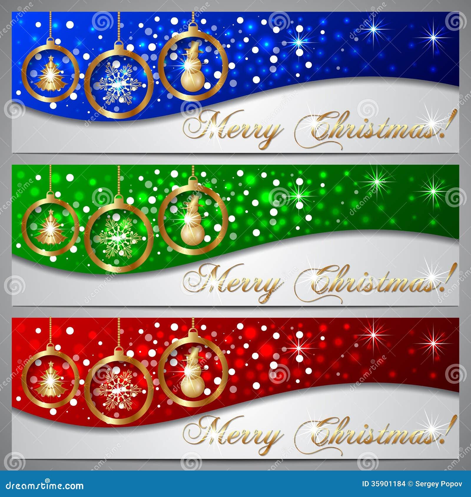 Vector Christmas Greeting Banner Set Stock Photo