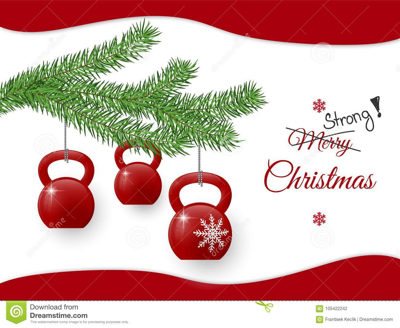 Christmas Greeting Card With Kettlebells And Pine Branch Stock
