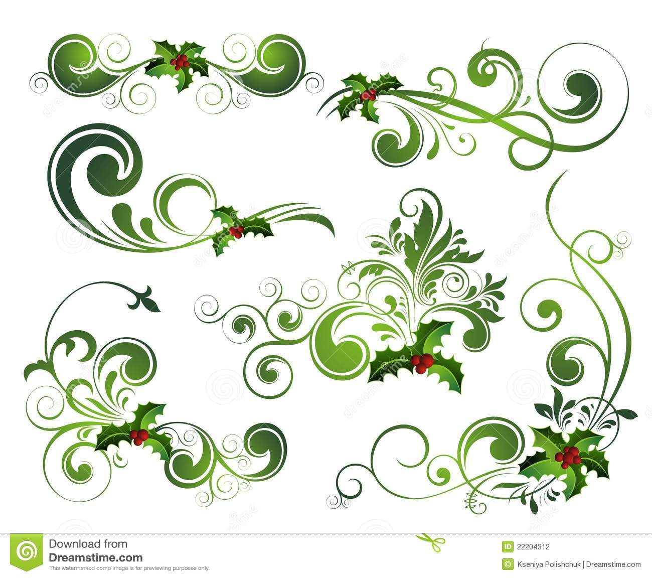 Vector Christmas Holly Set Stock Photography - Image: 22204312