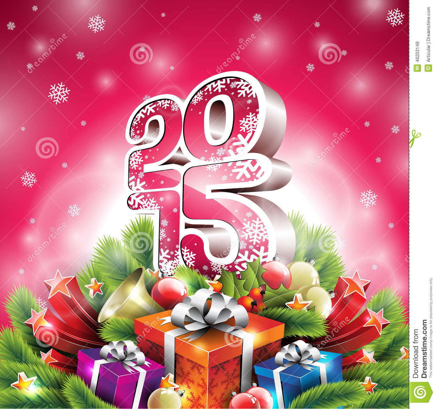 vector christmas illustration with 3d 2015 typographic design and shiny holiday elements on red background - Christmas Holiday 2015