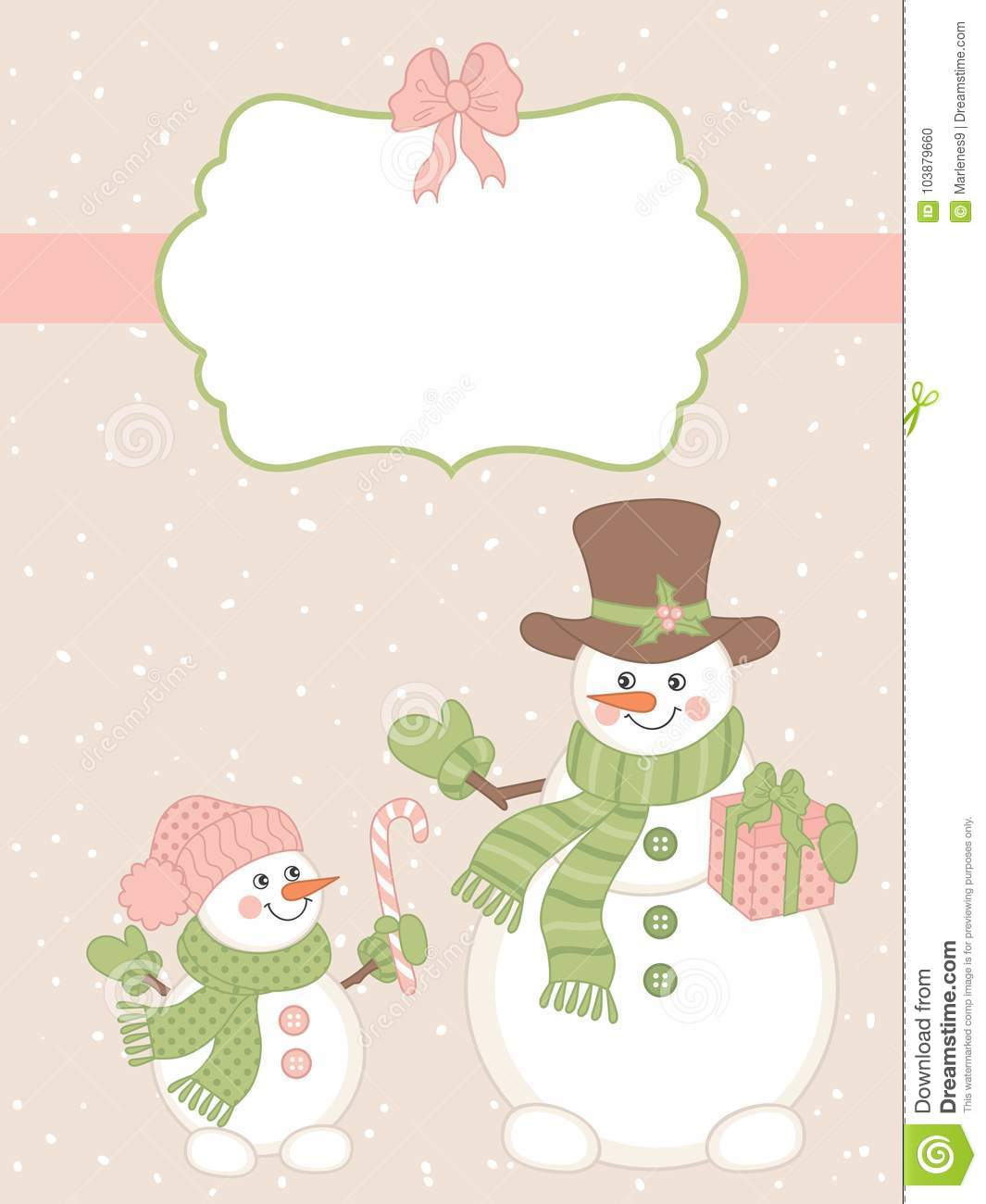 vector christmas and new year card template with cute snowmen and winter elements