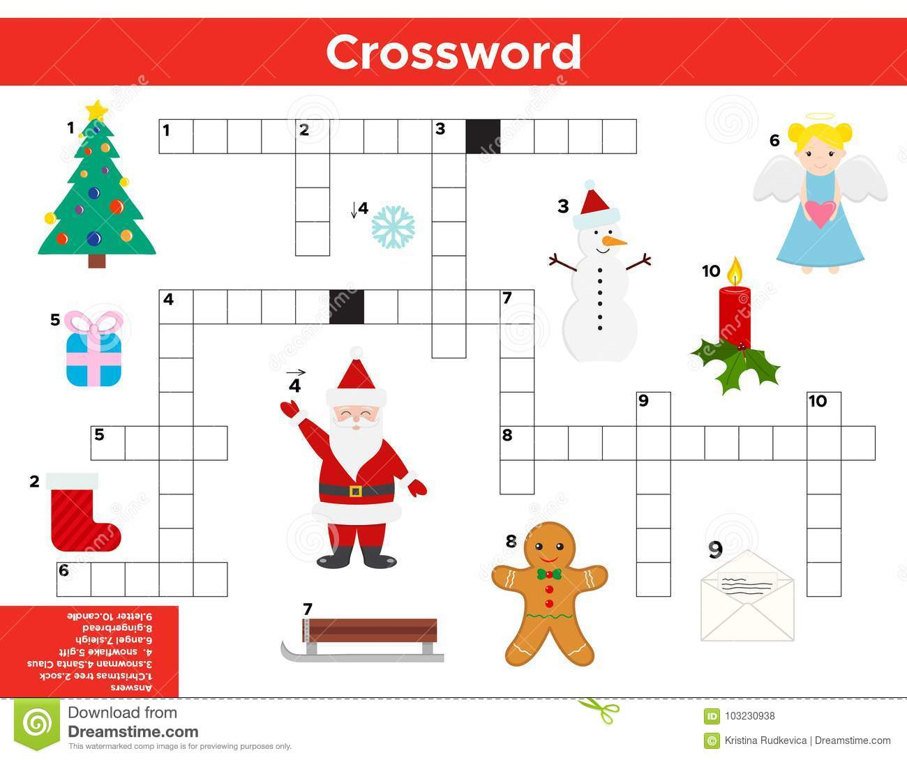 vector christmas new year crossword in english