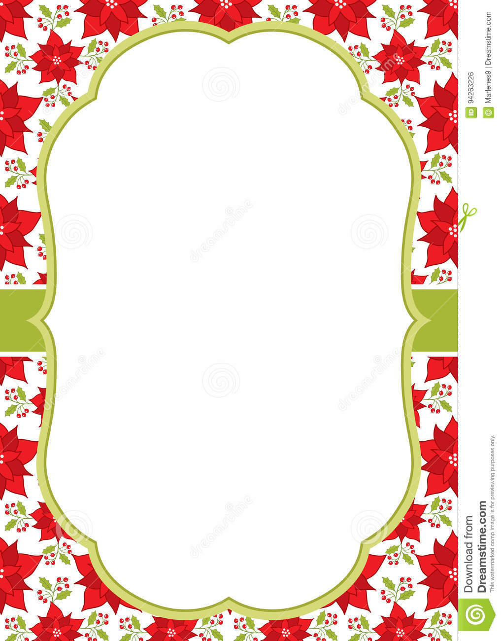 vector christmas and new year greeting card template with a frame on poinsettia background