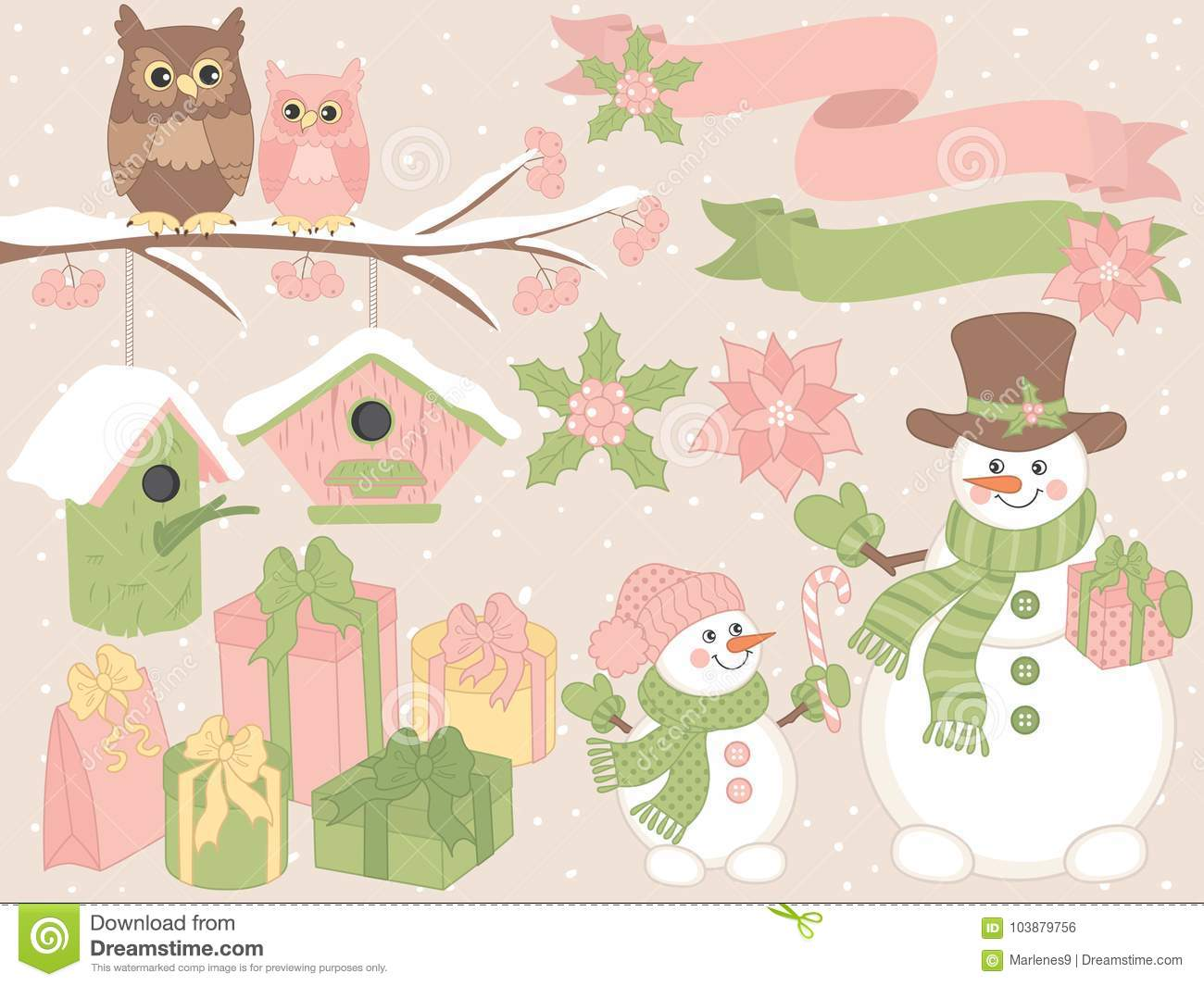 vector christmas and new year set with snowmen owls and festive winter elements