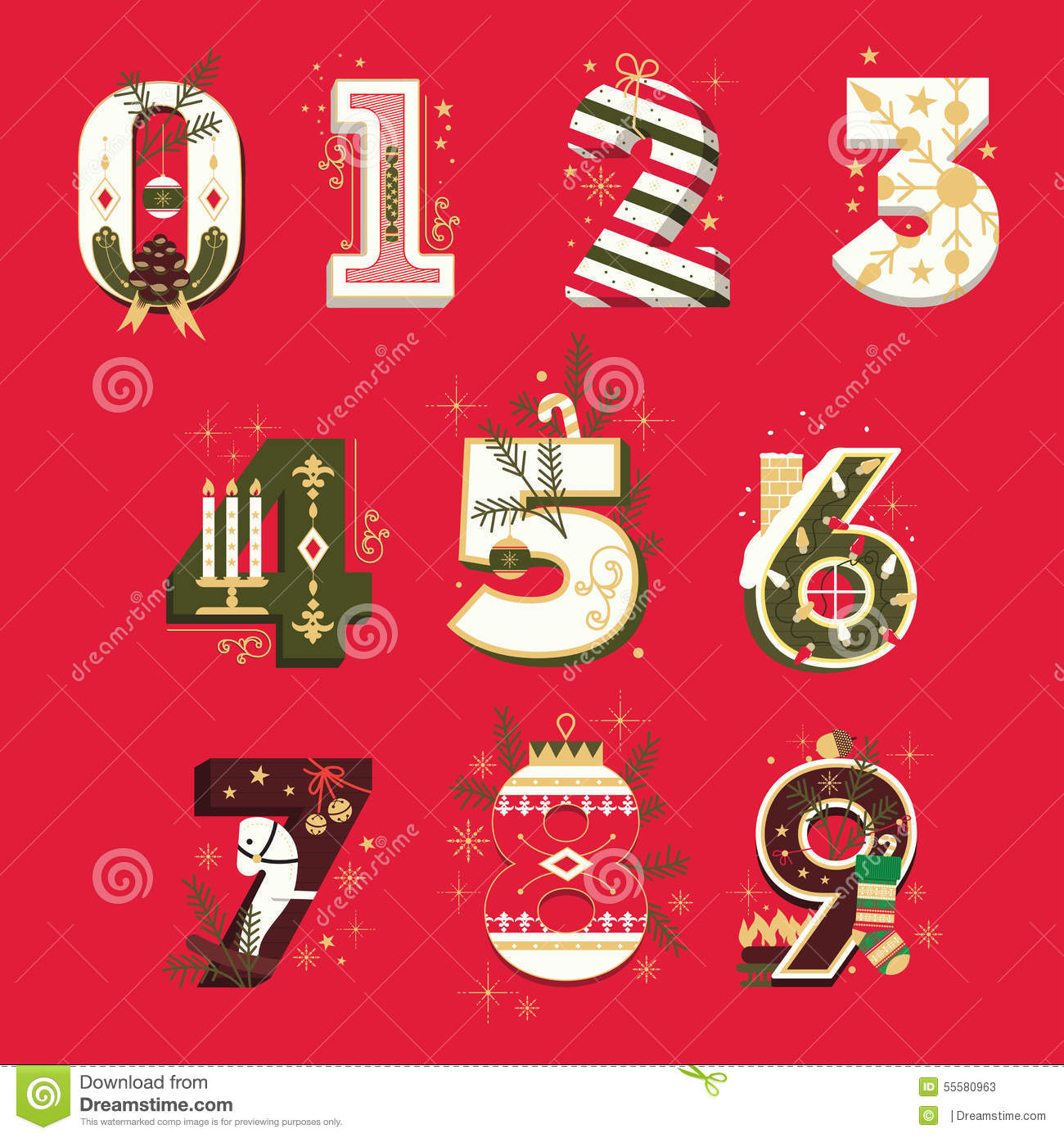 10: Vector Christmas Numbers , Vector Illustration Set Stock
