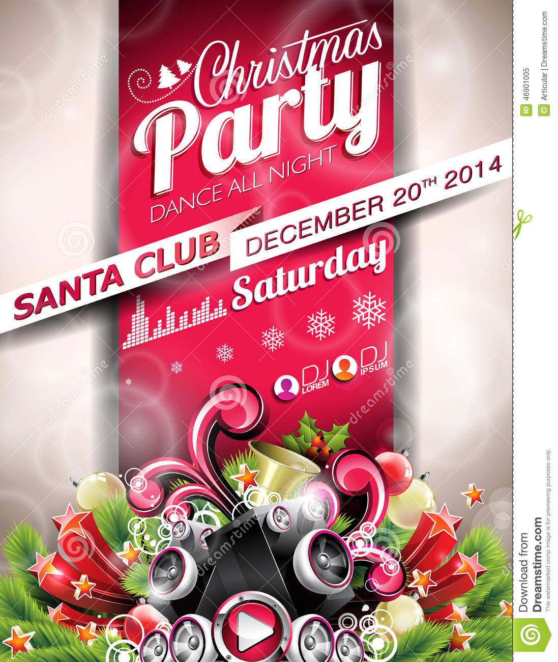 Vector Christmas Party Design With Holiday Typographiy Elements On ...