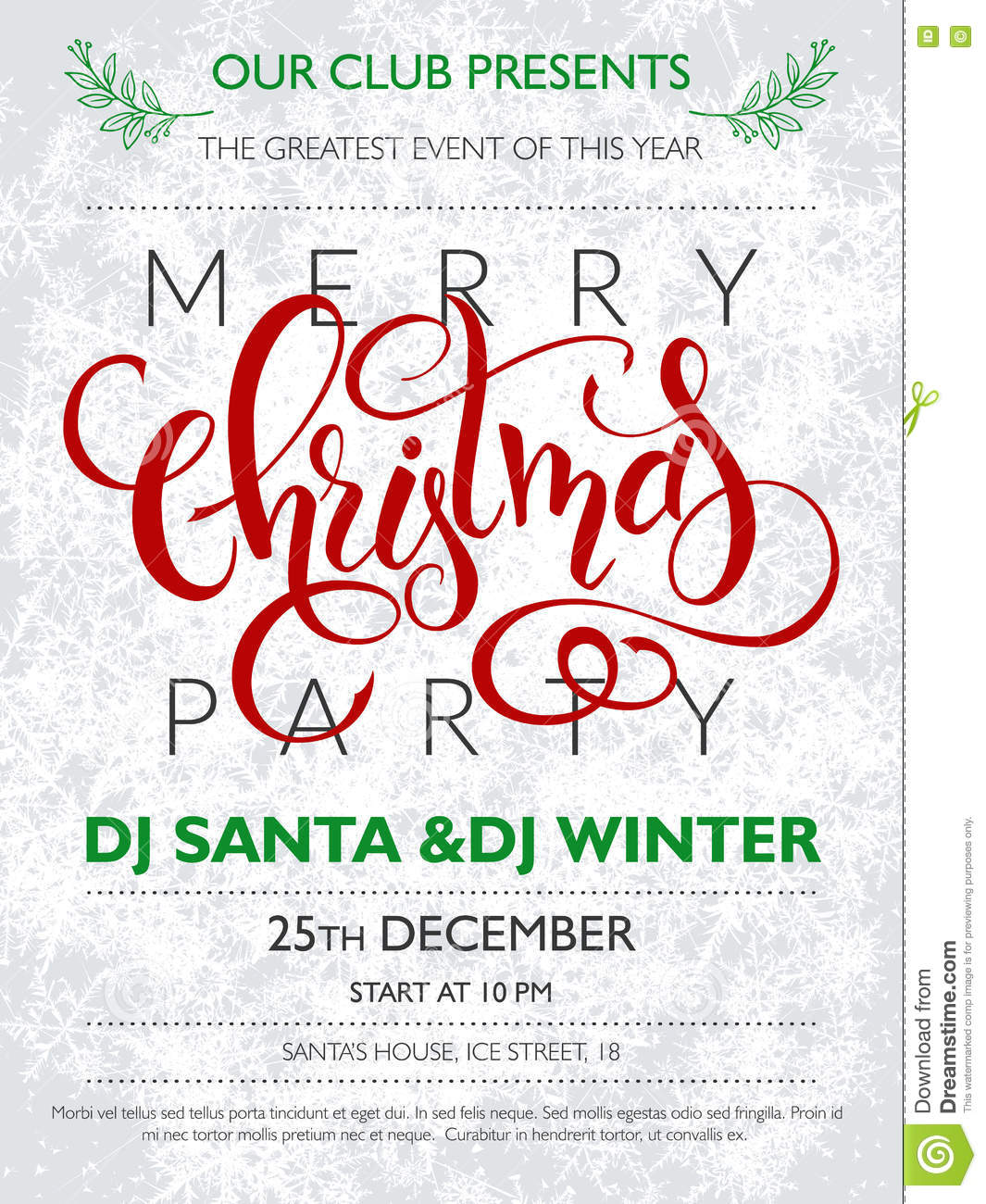 Vector christmas party poster with lettering greetings word download vector christmas party poster with lettering greetings word christmas on frozen frosty background m4hsunfo