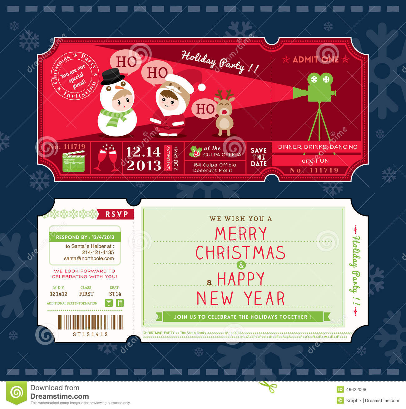High Quality Vector Christmas Party Ticket Card Design Template. Royalty Free Vector For Christmas Party Ticket Template Free