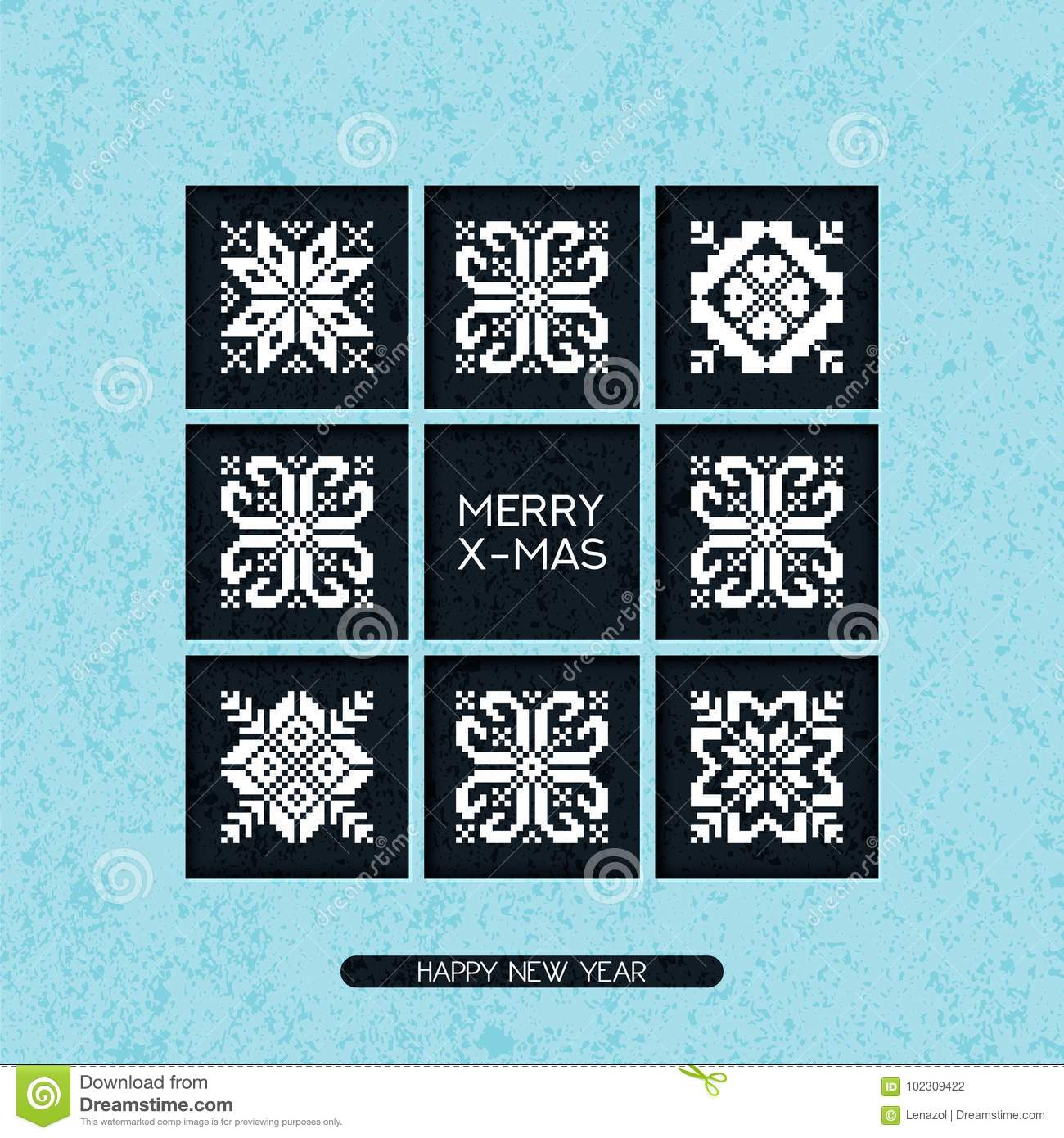 Vector Christmas Postcard With Greeting Words And Ornament Patchwork