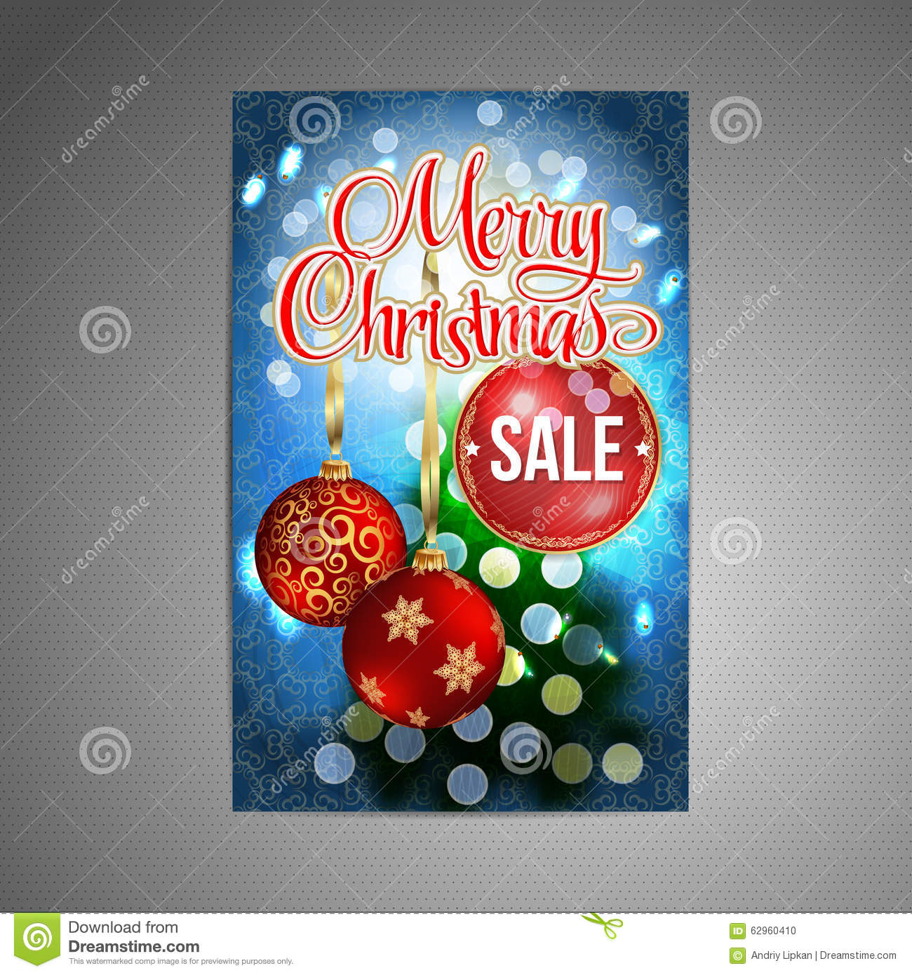 Christmas tree vector image royalty free stock image image 34973066 - Vector Christmas Sale Poster Background With Blurred Christmas Tree And Two Red Christmas Balls Vector
