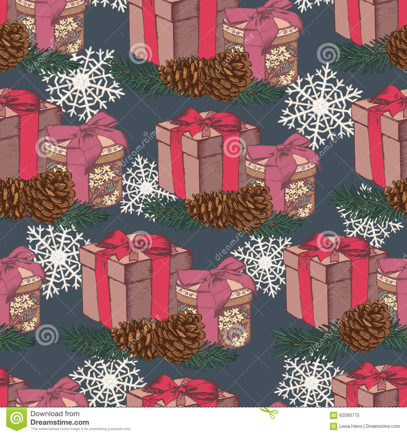 Vector christmas seamless pattern with hand drawn gifts for Fir cone christmas tree decorations