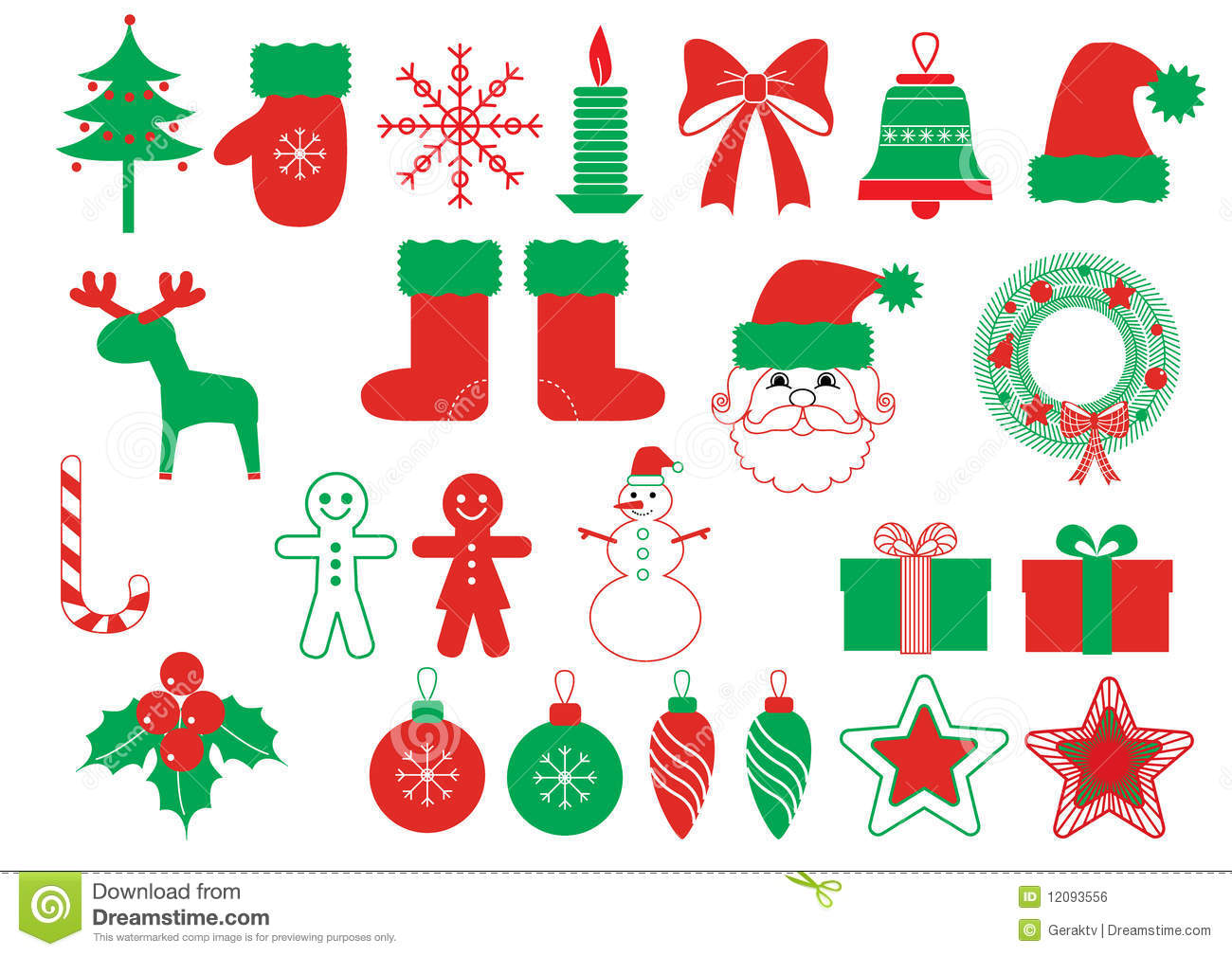 Vector Christmas Symbols Red Green Elements Royalty Free