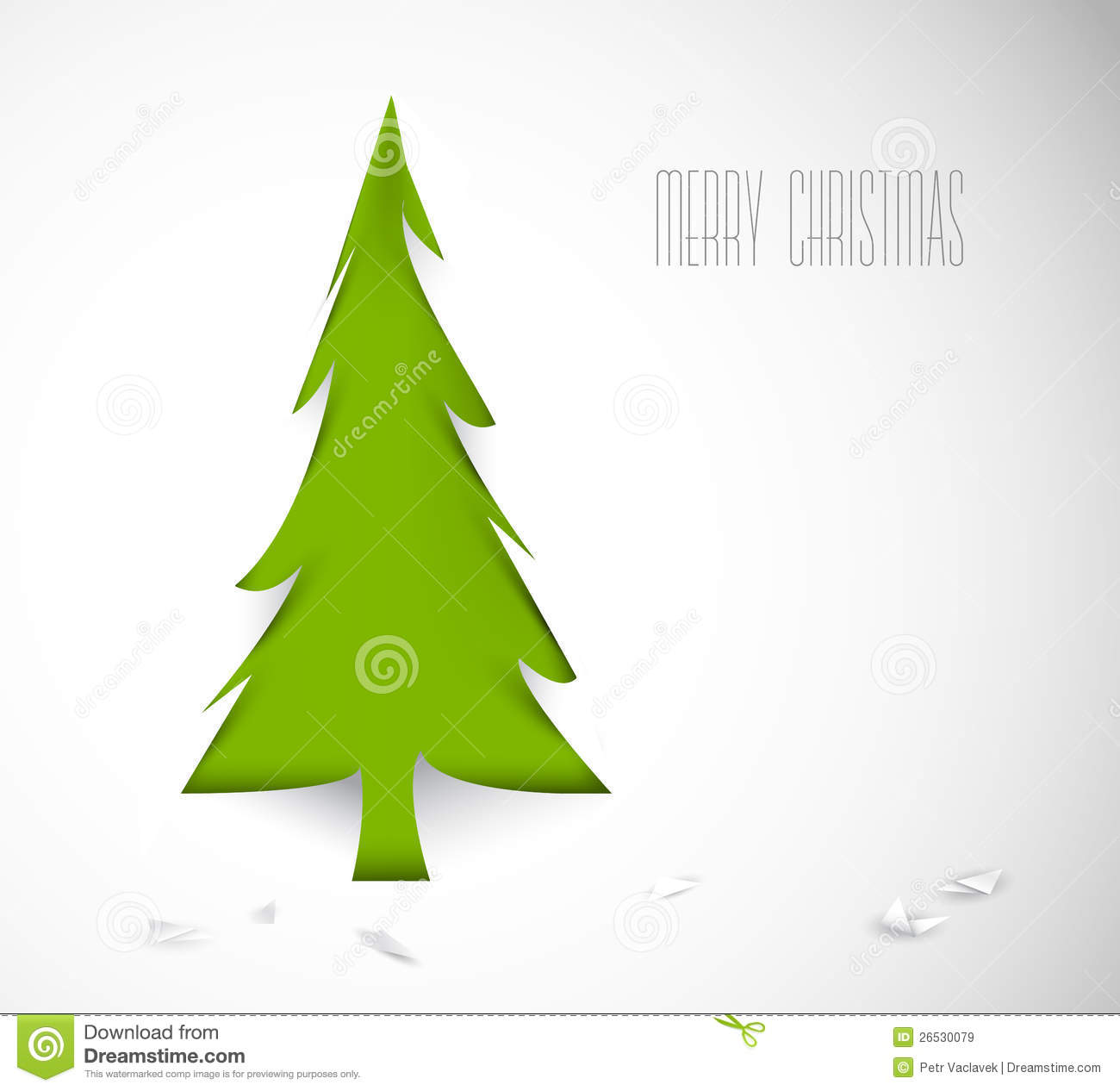 Vector Christmas Tree Cut Out From Paper Royalty Free Stock Images - Image: 26530079