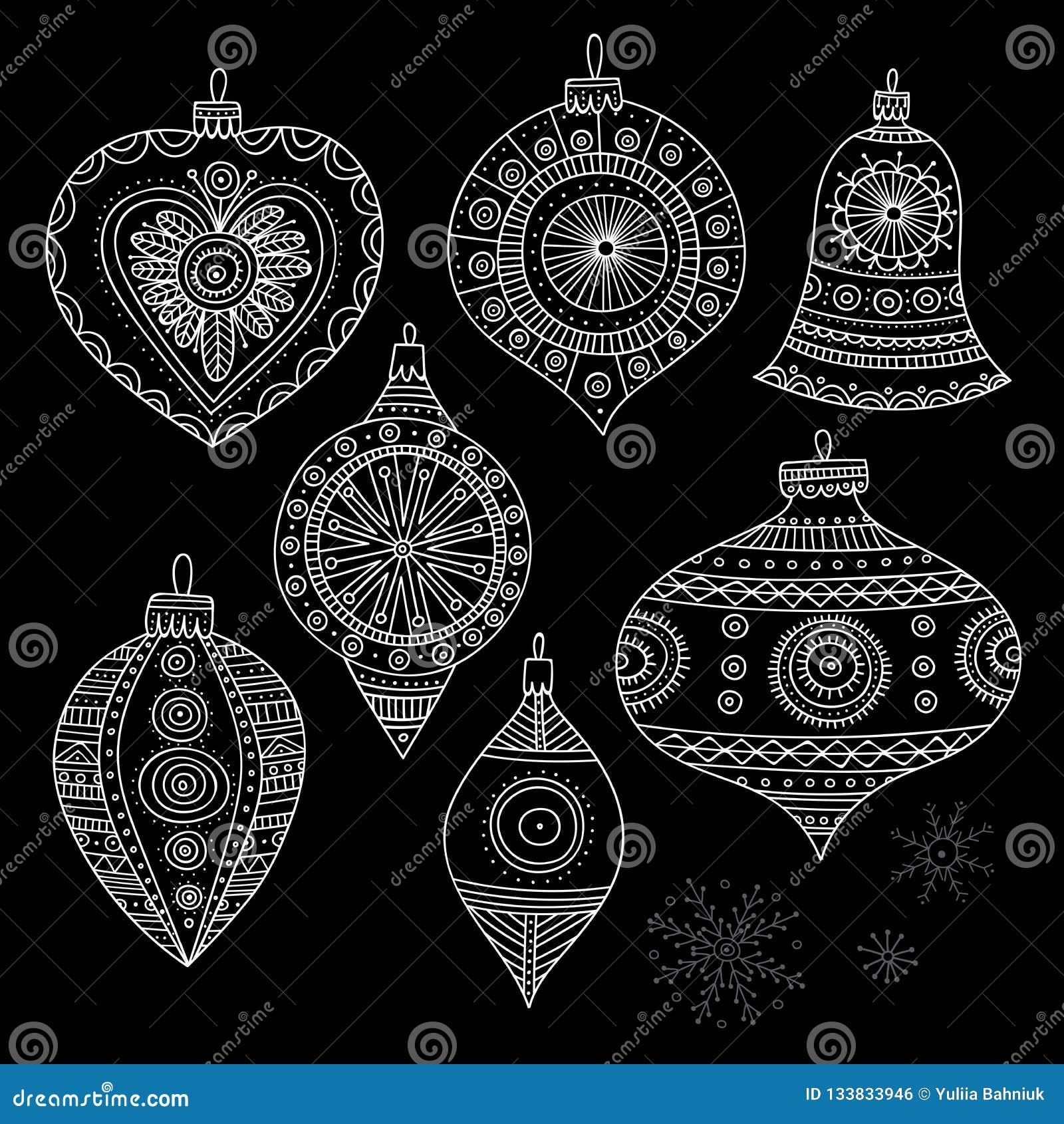 Vector Christmas Tree Decoration Baubles Line Art Stock ...