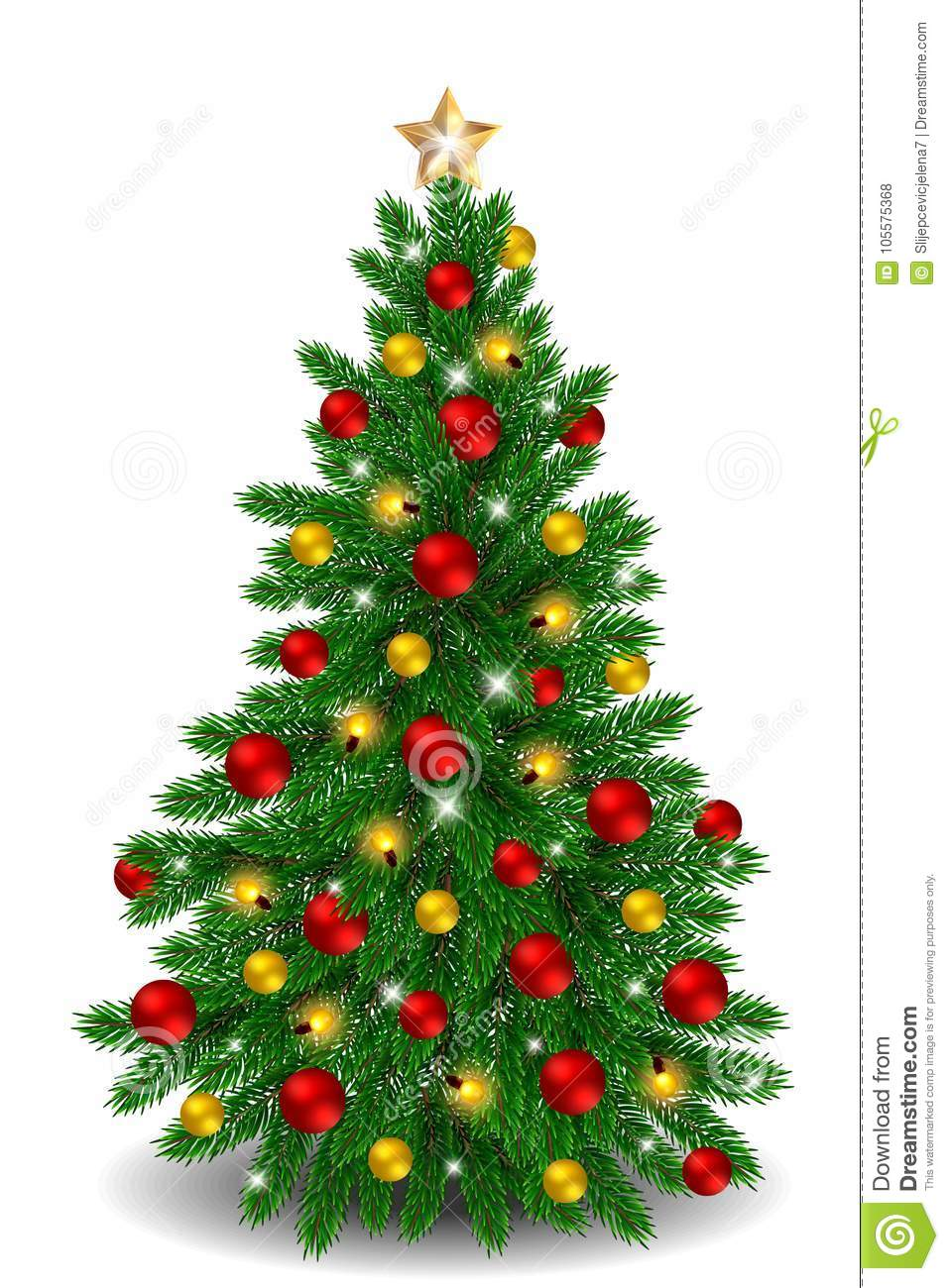 vector christmas tree with red and gold ornaments - Christmas Tree Red And Gold