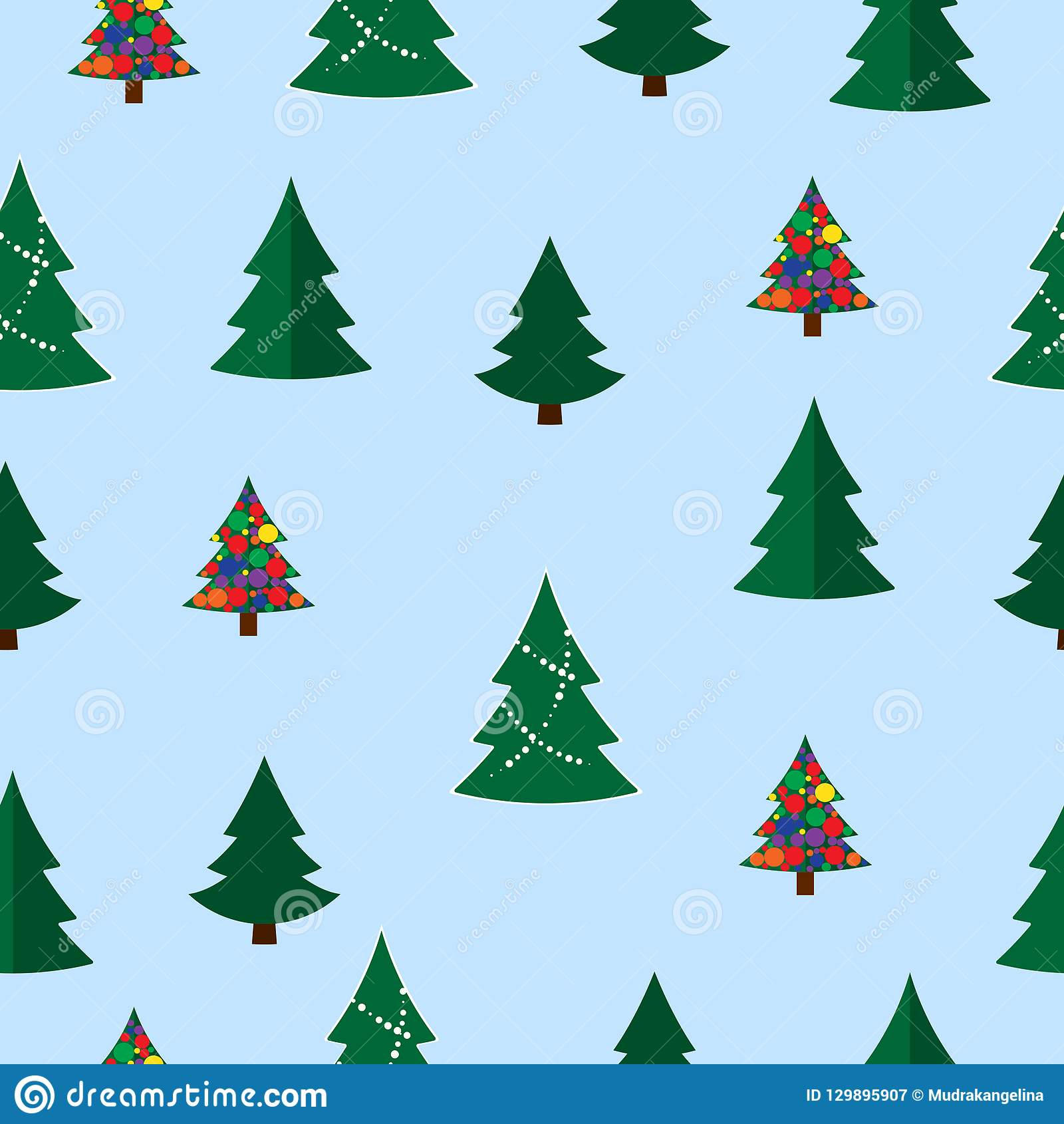 vector christmas tree seamless pattern winter forest pine trees