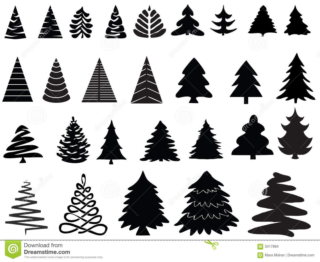 Vector Christmas Trees Stock Vector Illustration Of Needle 3417894