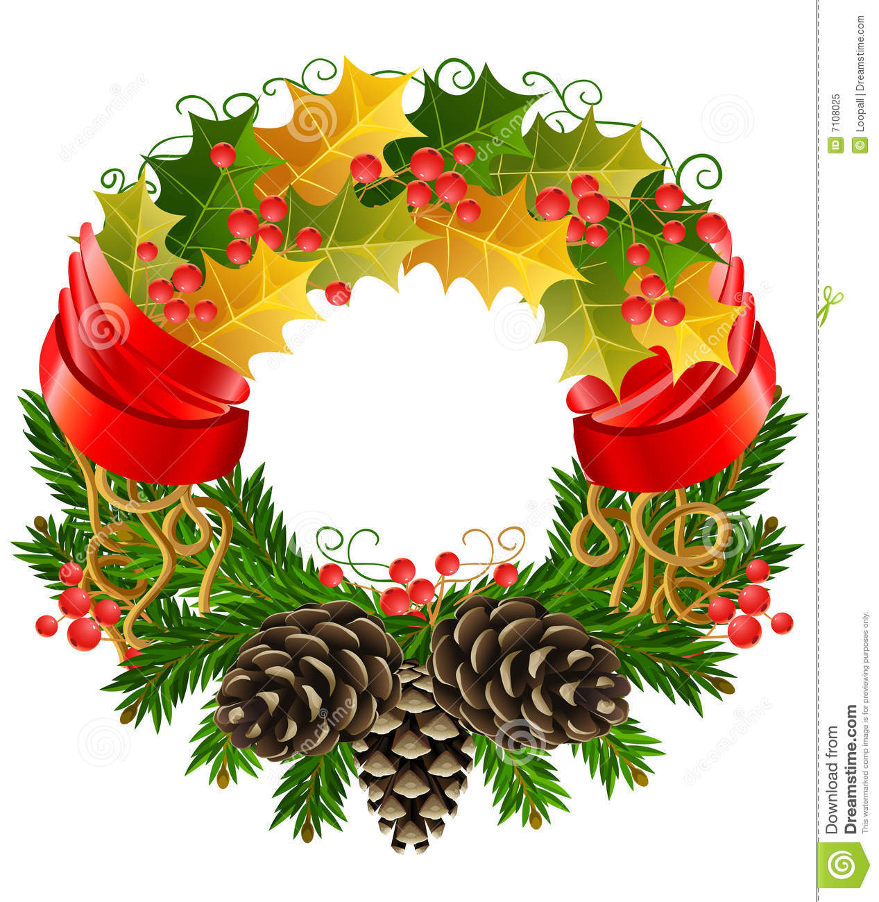 Vector Christmas Wreath Royalty Free Stock Photo - Image: 7108025