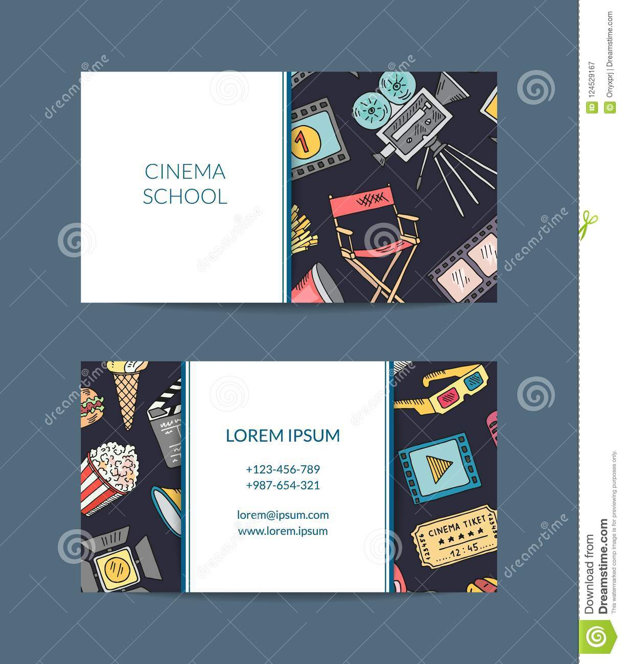 Vector Cinema Doodle Icons Business Card Cinema Elements