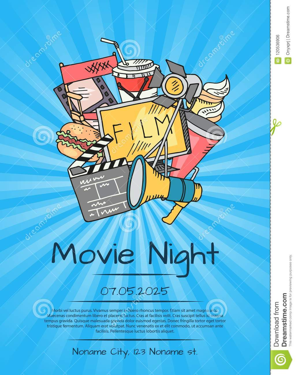 Vector cinema icons poster for movie night or festival