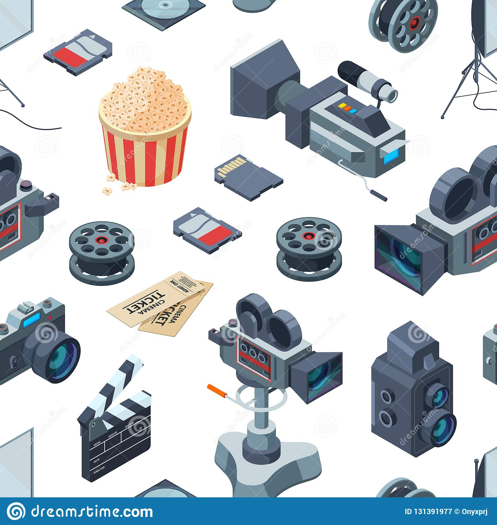 Vector cinematograph isometric elements pattern or background illustration
