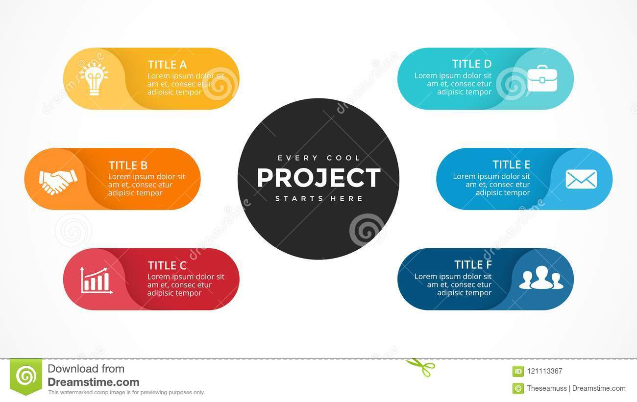 Vector Circle Arrows Infographic  Cycle Diagram  Labels Graph  Stickers Presentation Chart