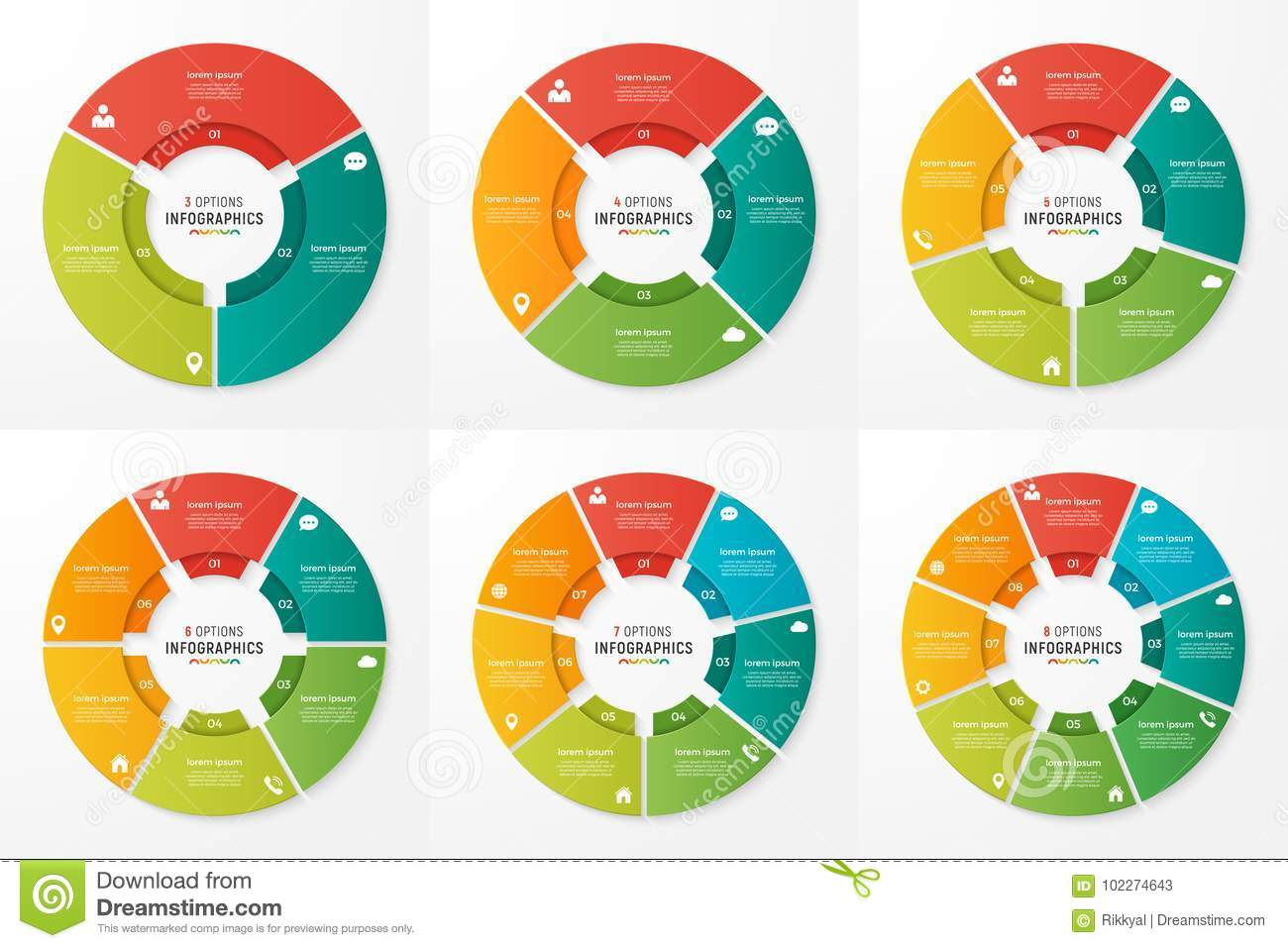 Vector circle chart infographic templates for presentations, adv