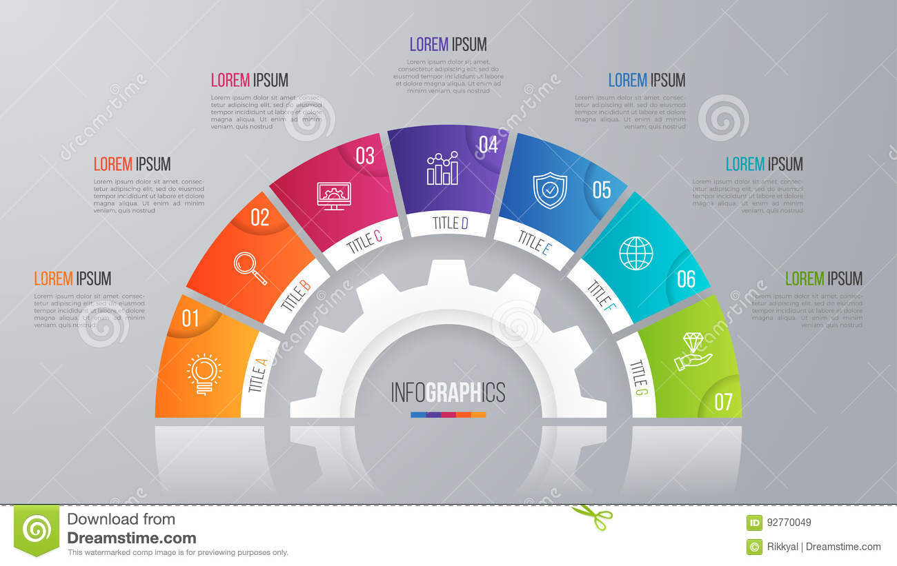 Vector circle chart template for infographics 7 options.