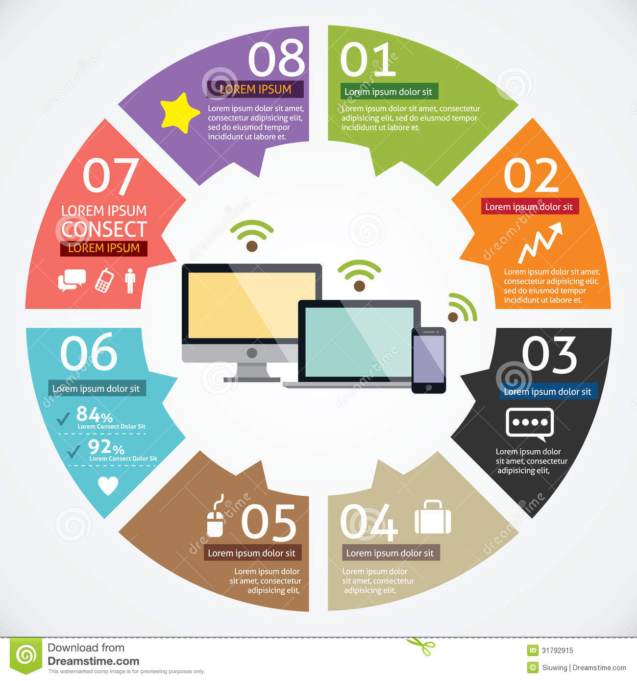 Infographic definition icon in computer